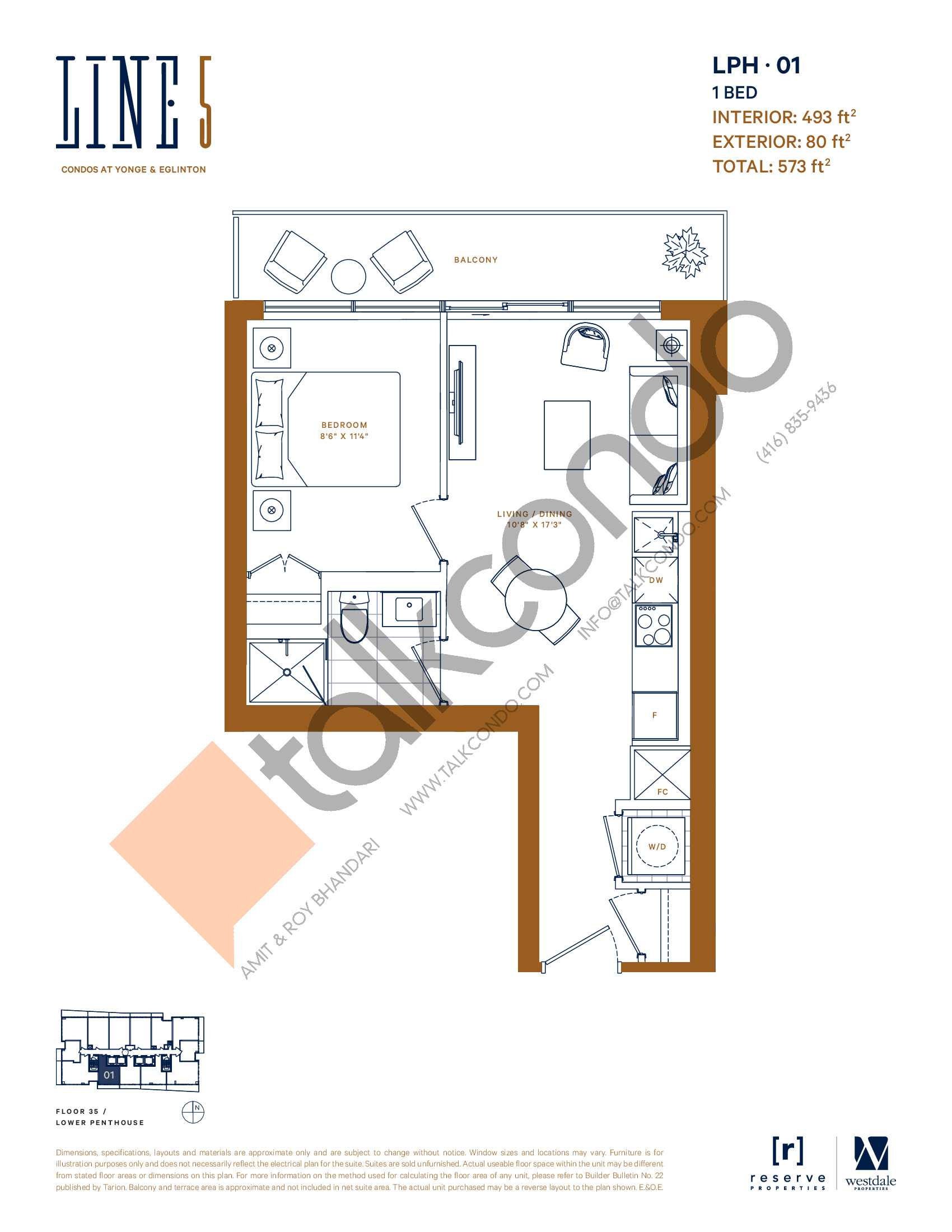 LPH-01 Floor Plan at Line 5 South Tower Condos - 493 sq.ft