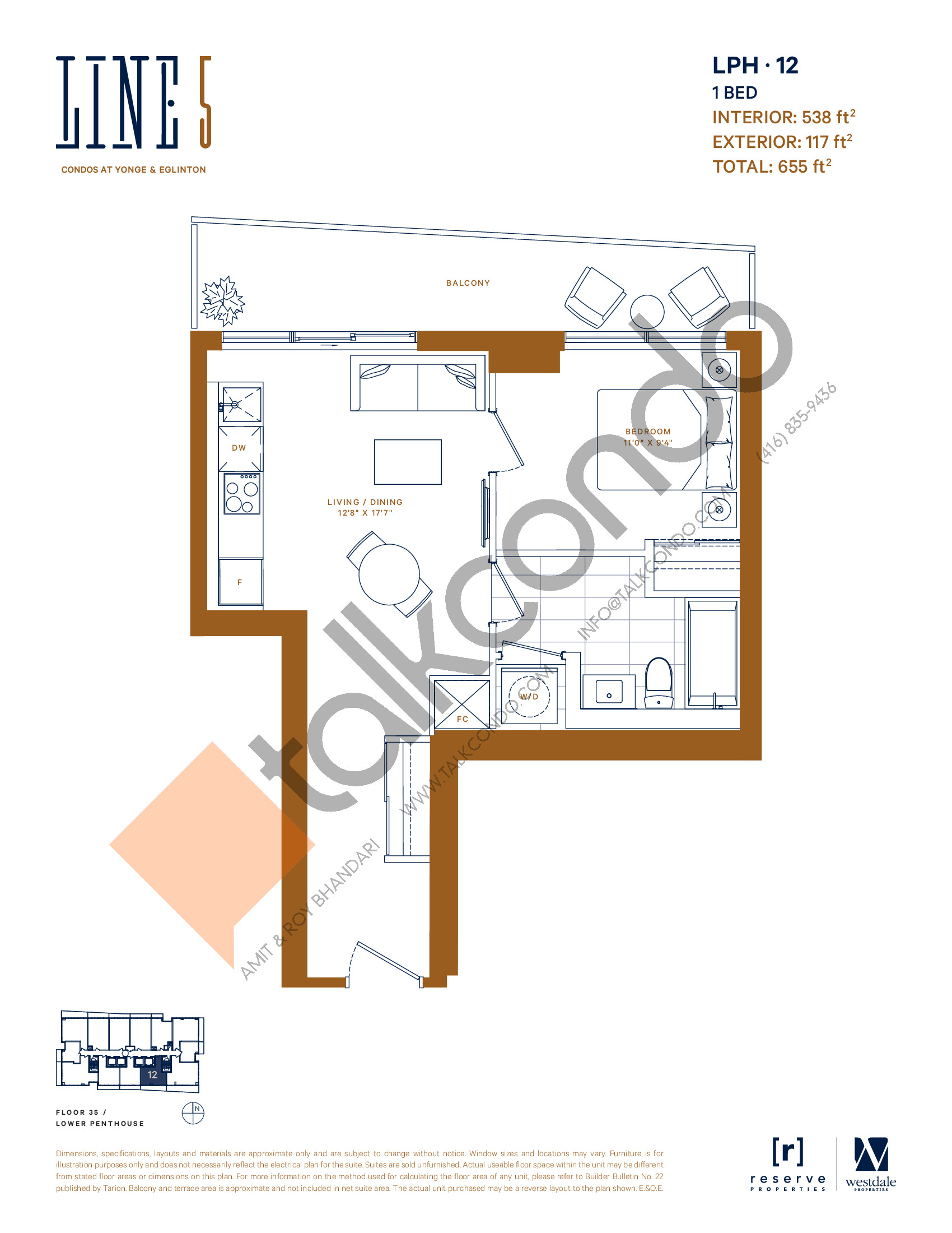 LPH-12 Floor Plan at Line 5 South Tower Condos - 538 sq.ft