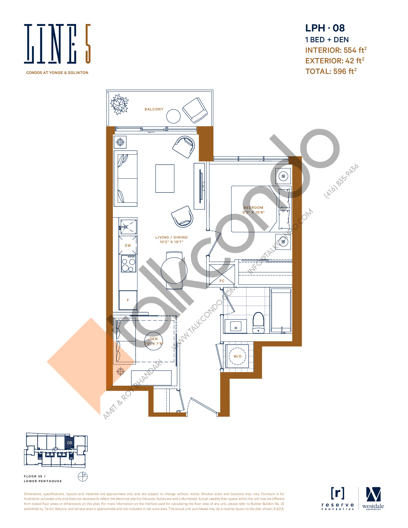 LPH-08 Floor Plan at Line 5 South Tower Condos - 554 sq.ft