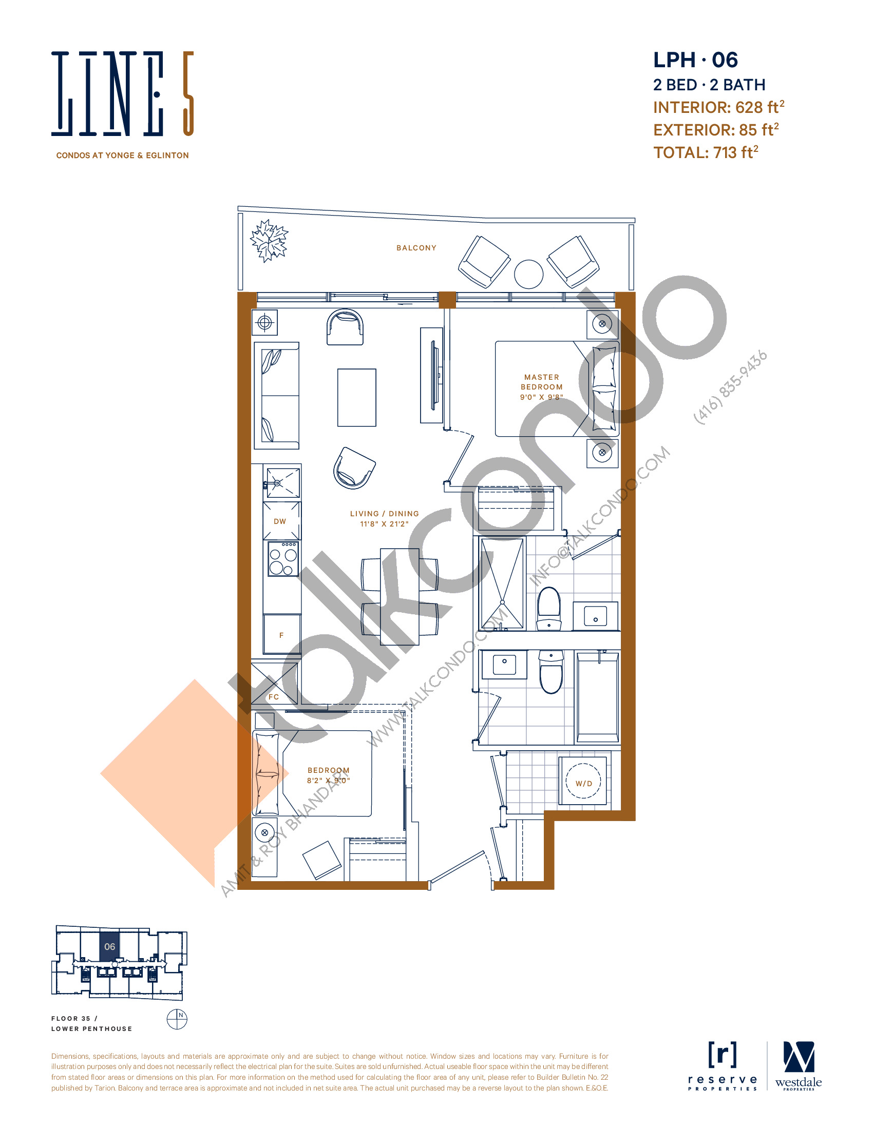 LPH-06 Floor Plan at Line 5 South Tower Condos - 628 sq.ft