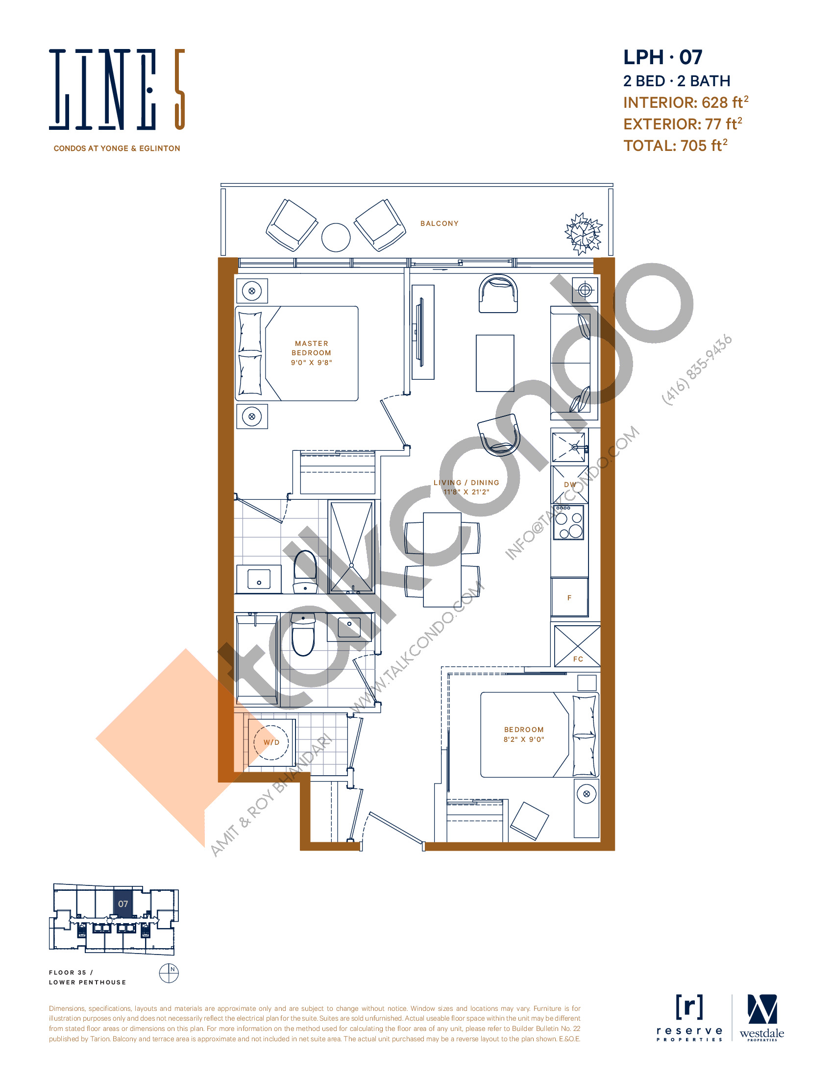 LPH-07 Floor Plan at Line 5 South Tower Condos - 628 sq.ft