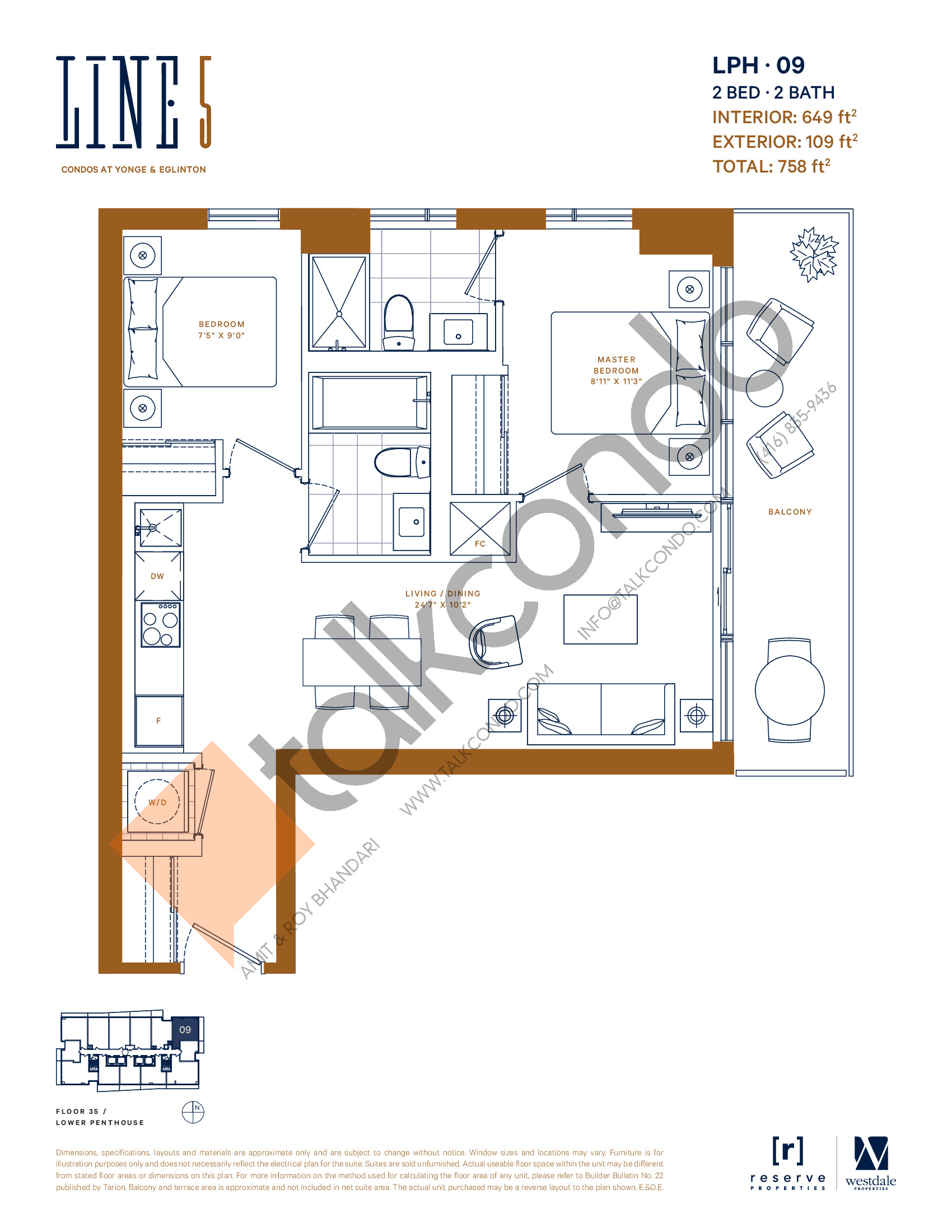 LPH-09 Floor Plan at Line 5 South Tower Condos - 649 sq.ft