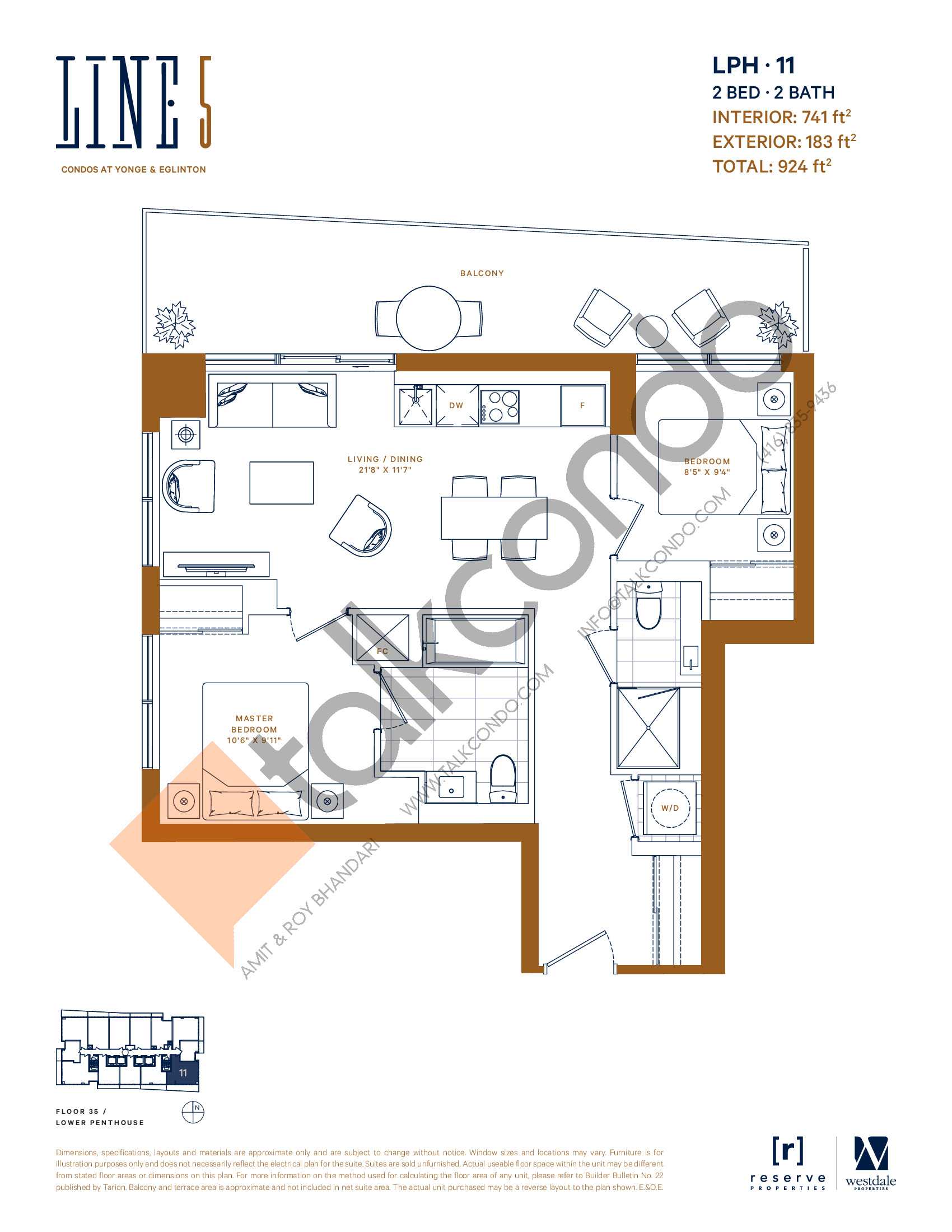 LPH-11 Floor Plan at Line 5 South Tower Condos - 741 sq.ft