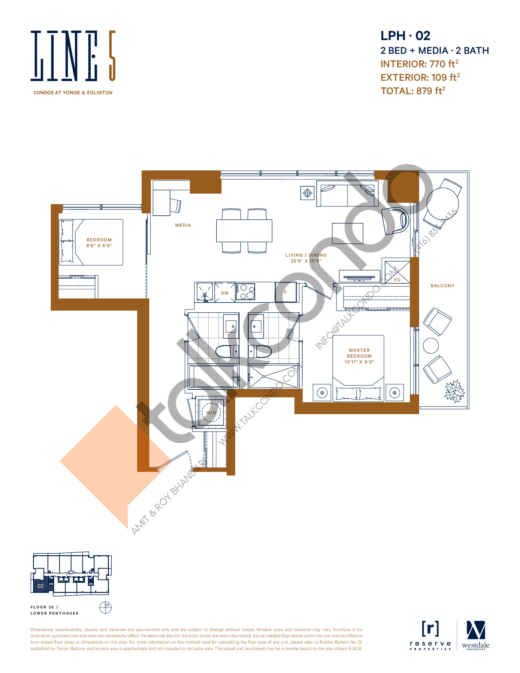 LPH-02 Floor Plan at Line 5 South Tower Condos - 770 sq.ft