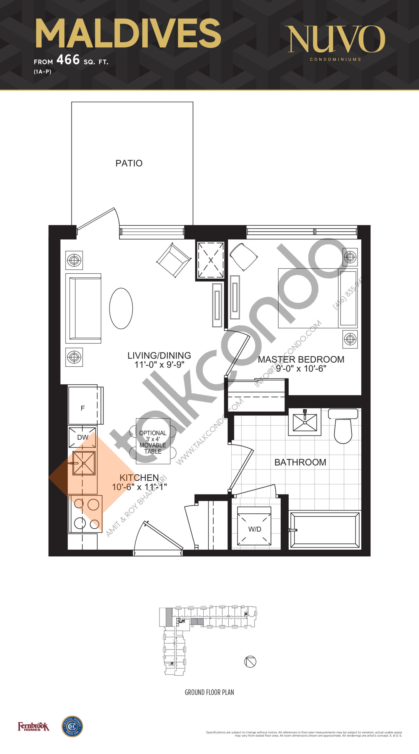 Maldives Floor Plan at Nuvo Condos - 466 sq.ft