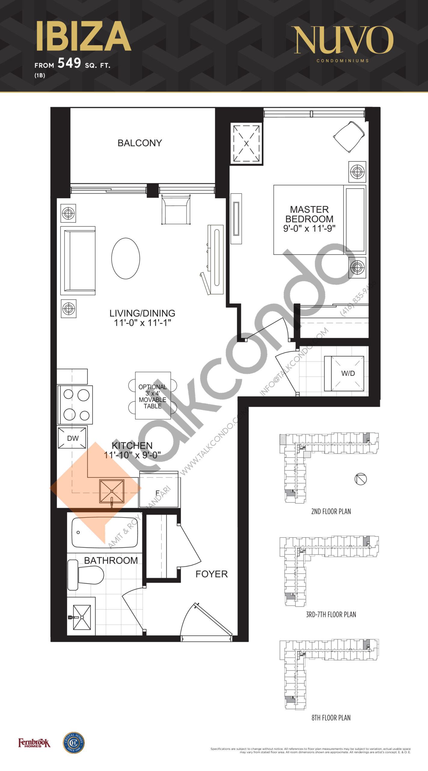 Ibiza Floor Plan at Nuvo Condos - 549 sq.ft