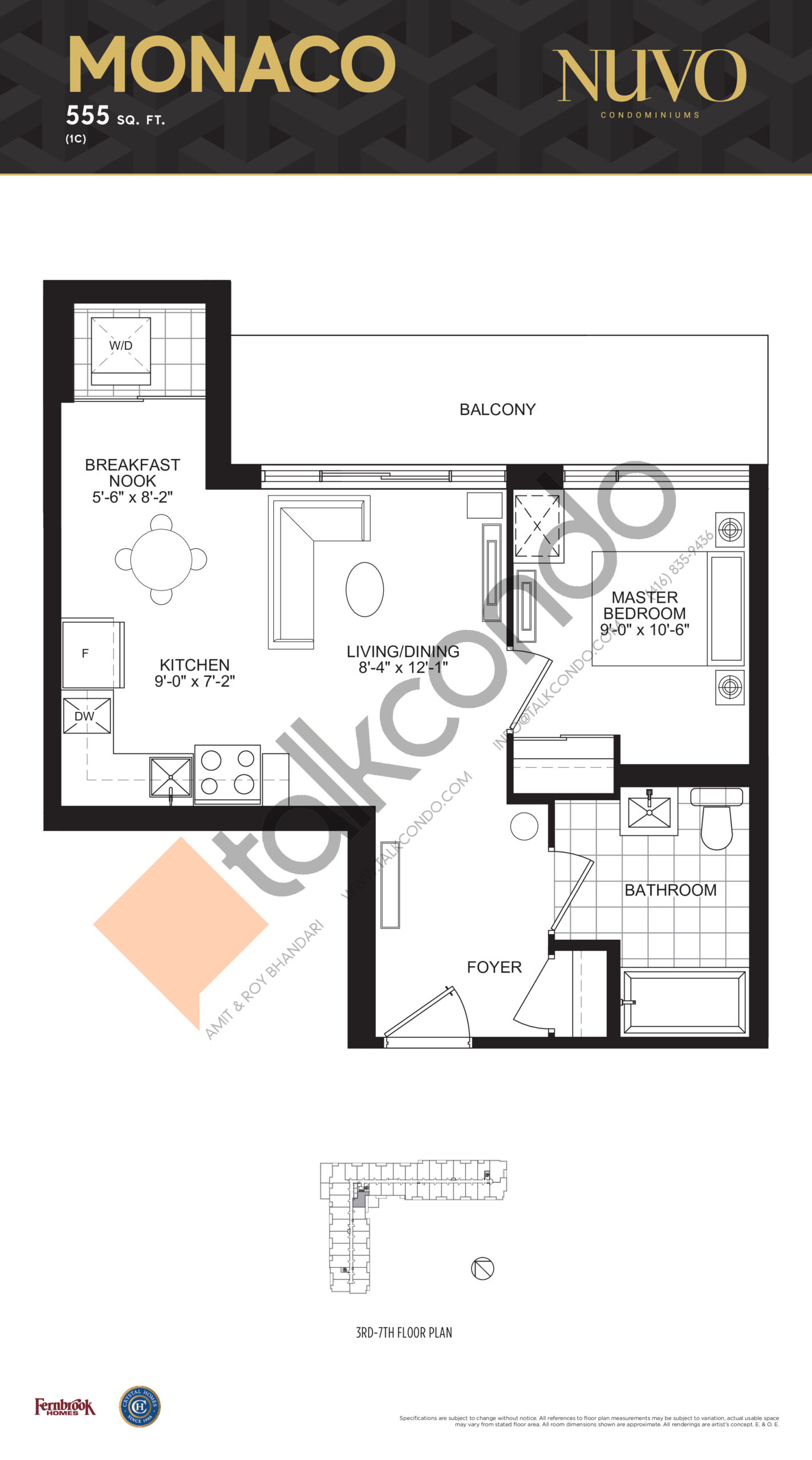 Monaco Floor Plan at Nuvo Condos - 555 sq.ft