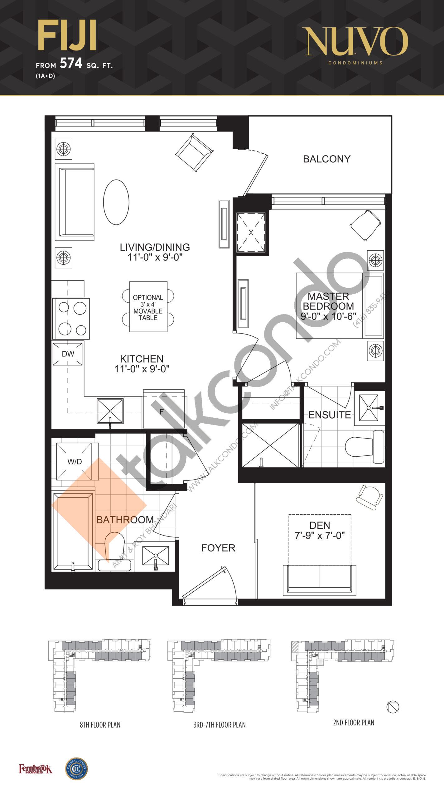 Fiji Floor Plan at Nuvo Condos - 574 sq.ft