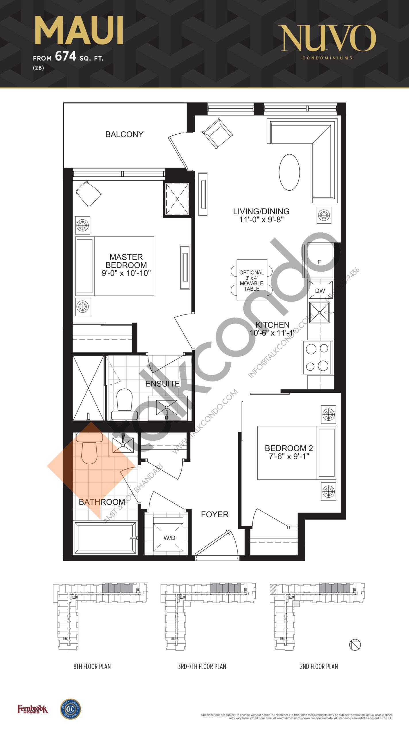 Maui Floor Plan at Nuvo Condos - 674 sq.ft