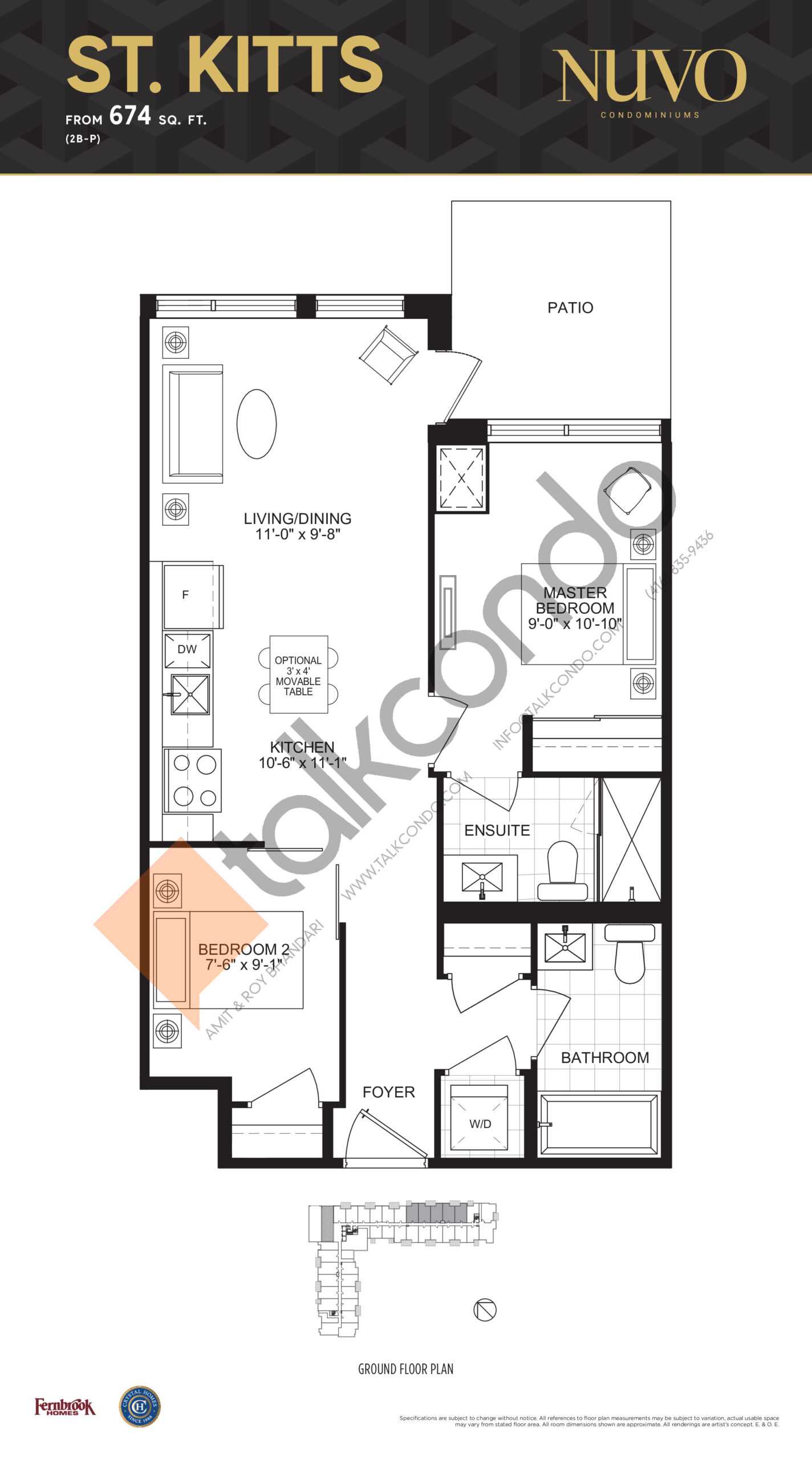St. Kitts Floor Plan at Nuvo Condos - 674 sq.ft