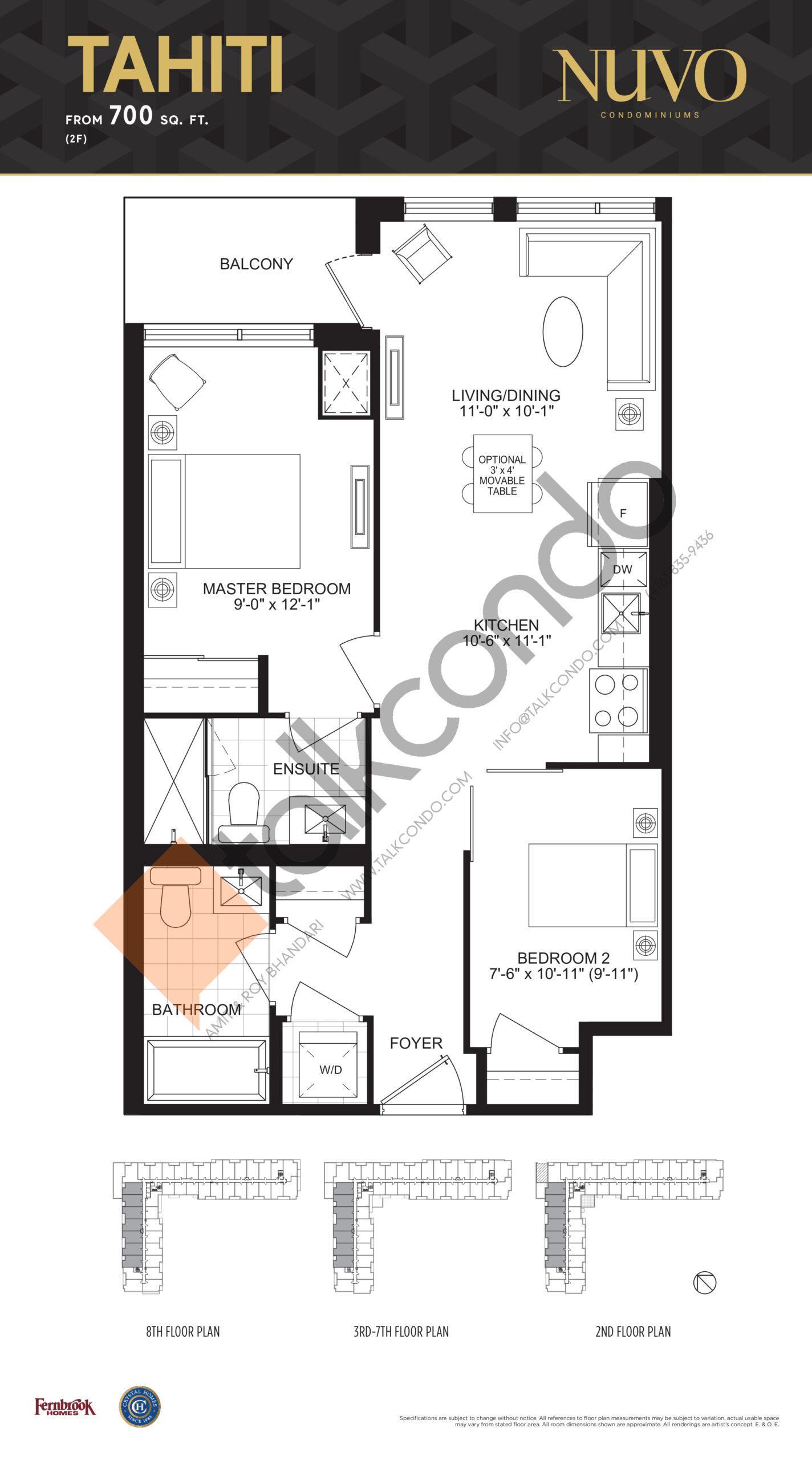 Tahiti Floor Plan at Nuvo Condos - 700 sq.ft