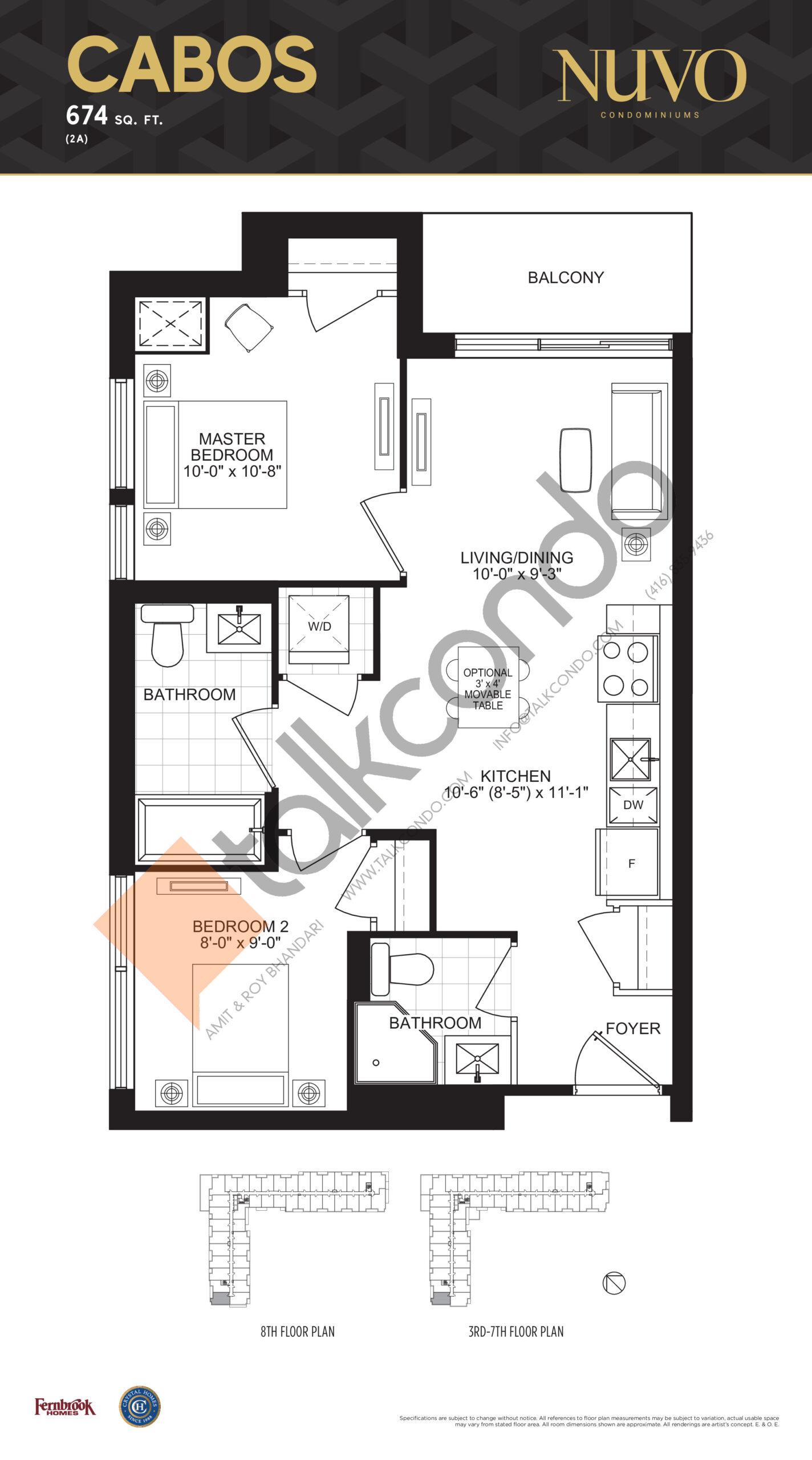 Cabos Floor Plan at Nuvo Condos - 674 sq.ft