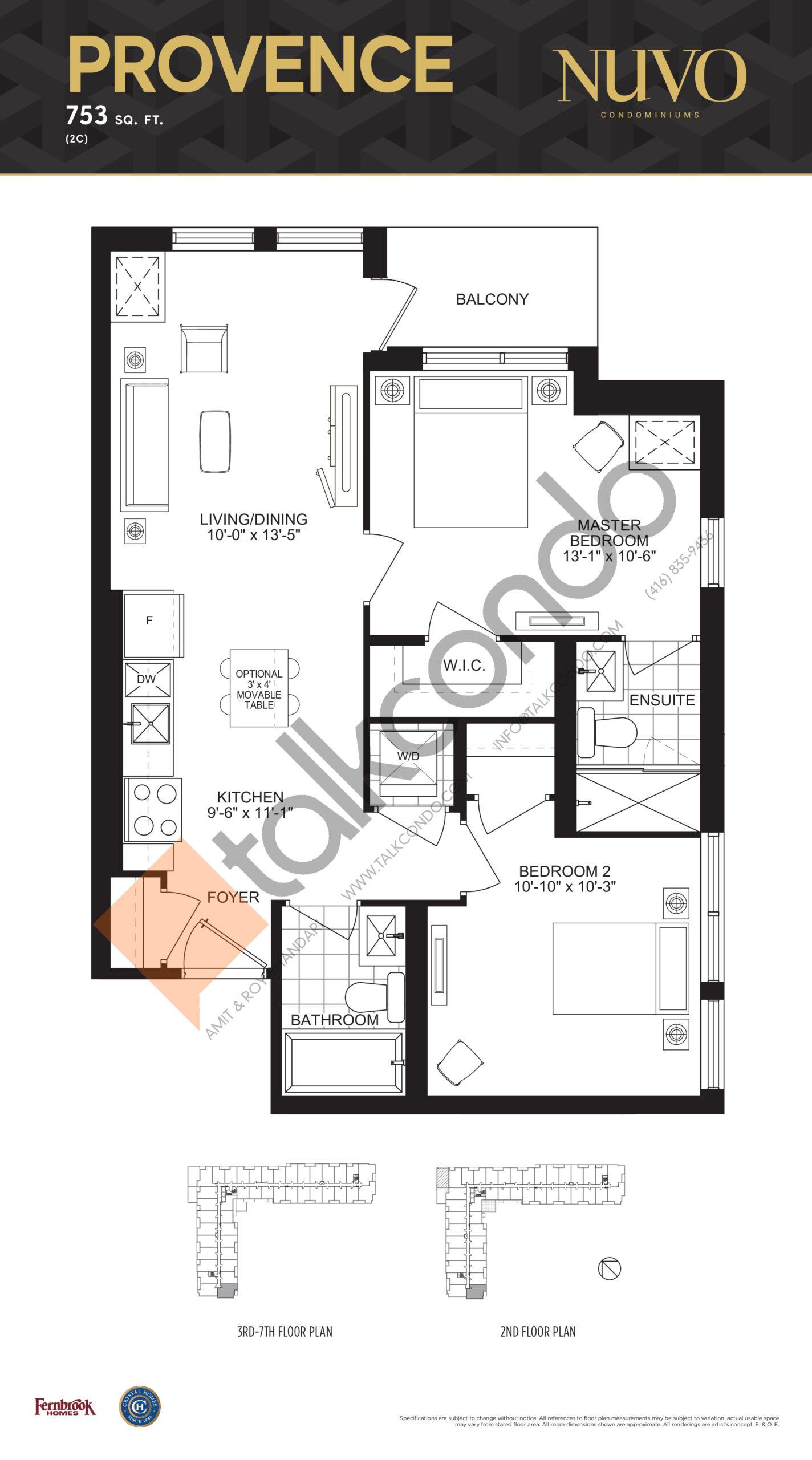 Provence Floor Plan at Nuvo Condos - 753 sq.ft