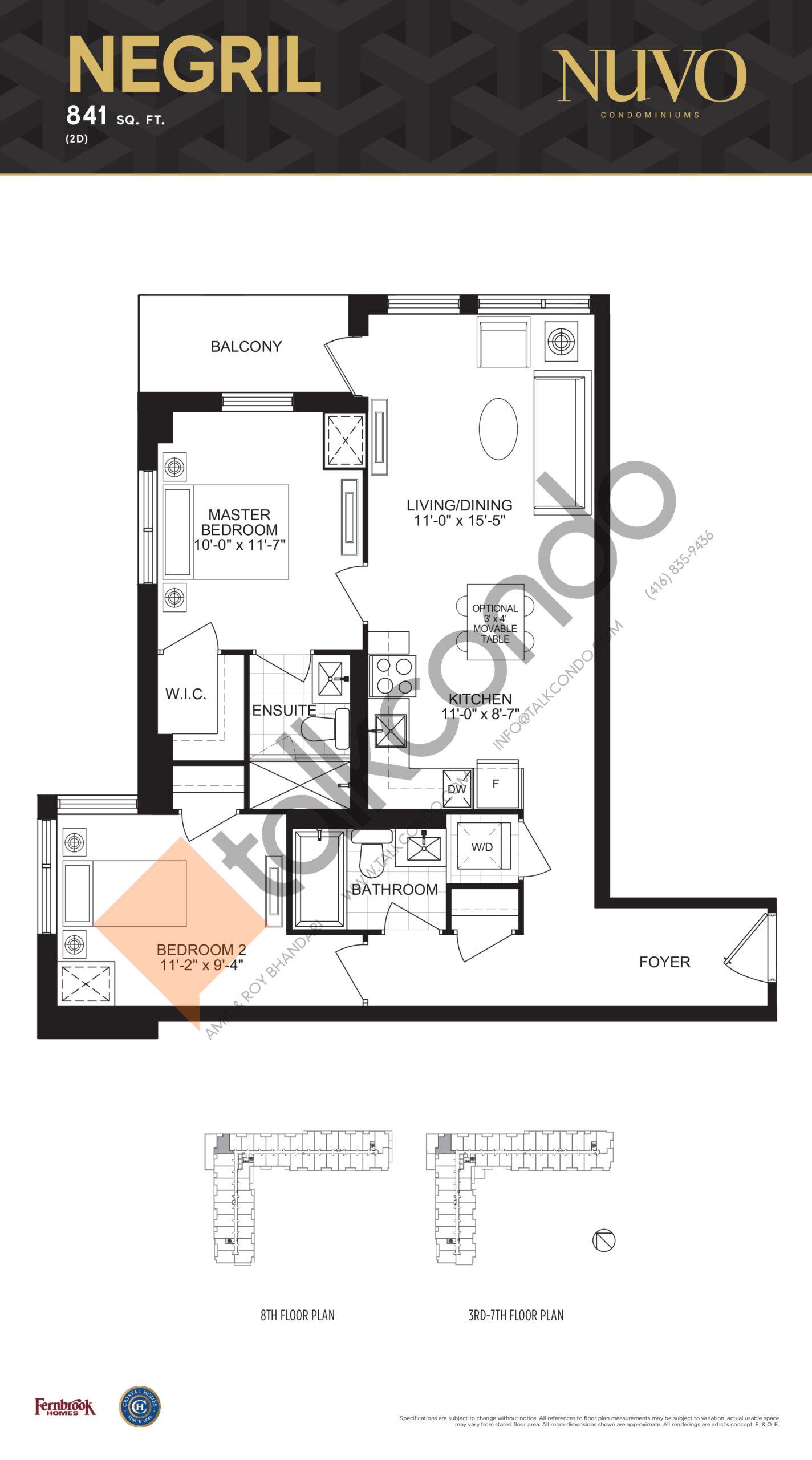 Negril Floor Plan at Nuvo Condos - 841 sq.ft