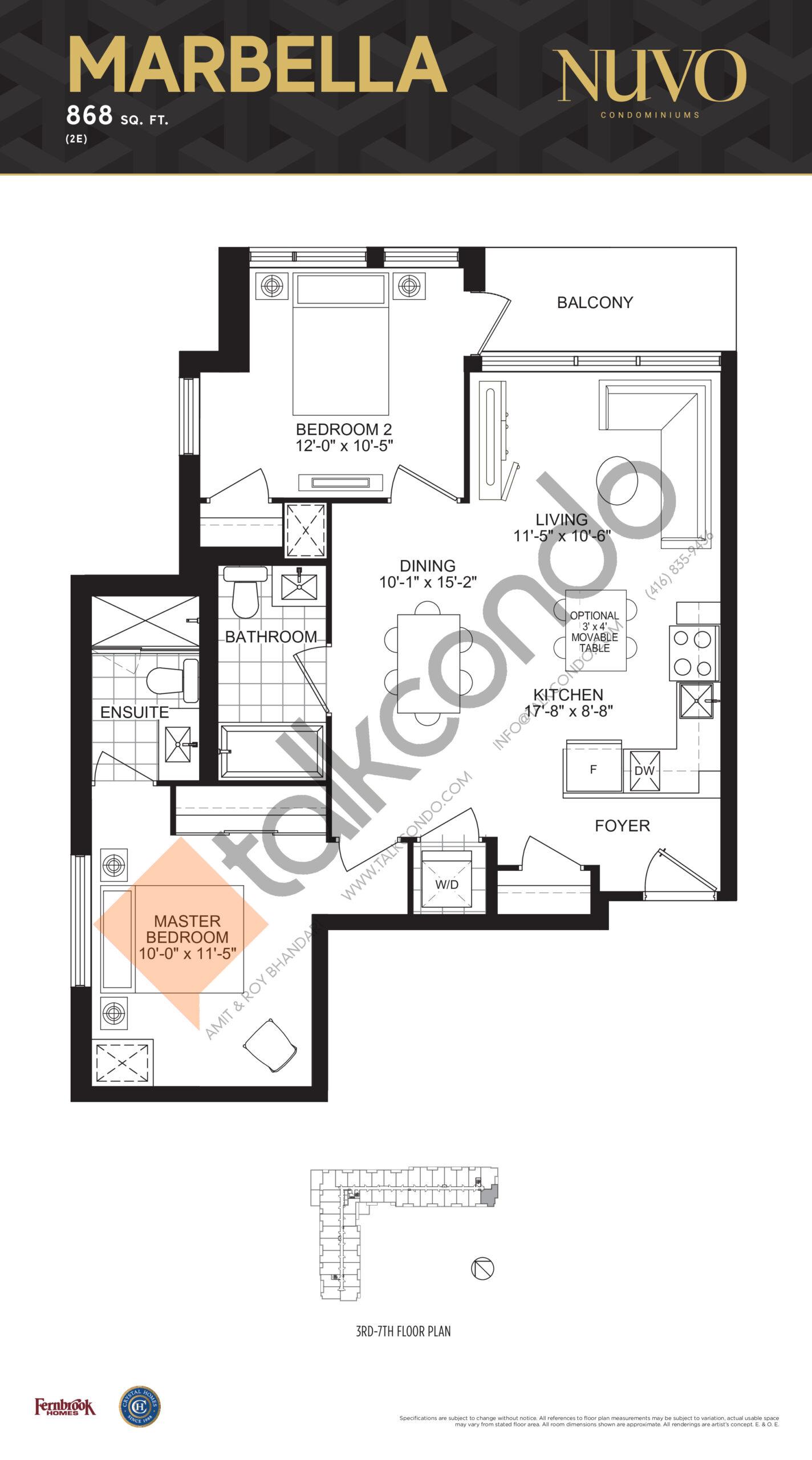 Marbella Floor Plan at Nuvo Condos - 868 sq.ft