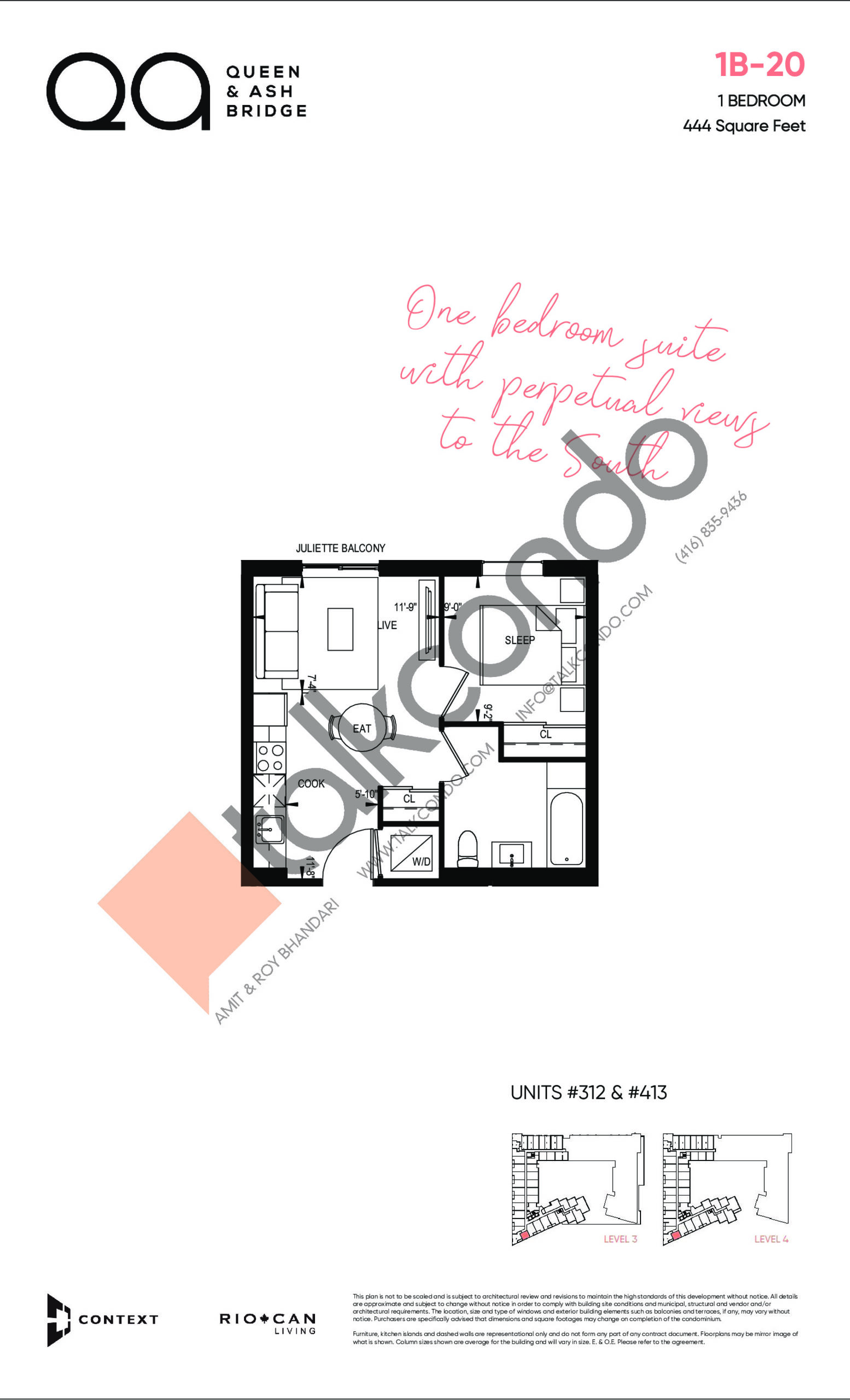 1B-20 Floor Plan at QA Condos - 444 sq.ft