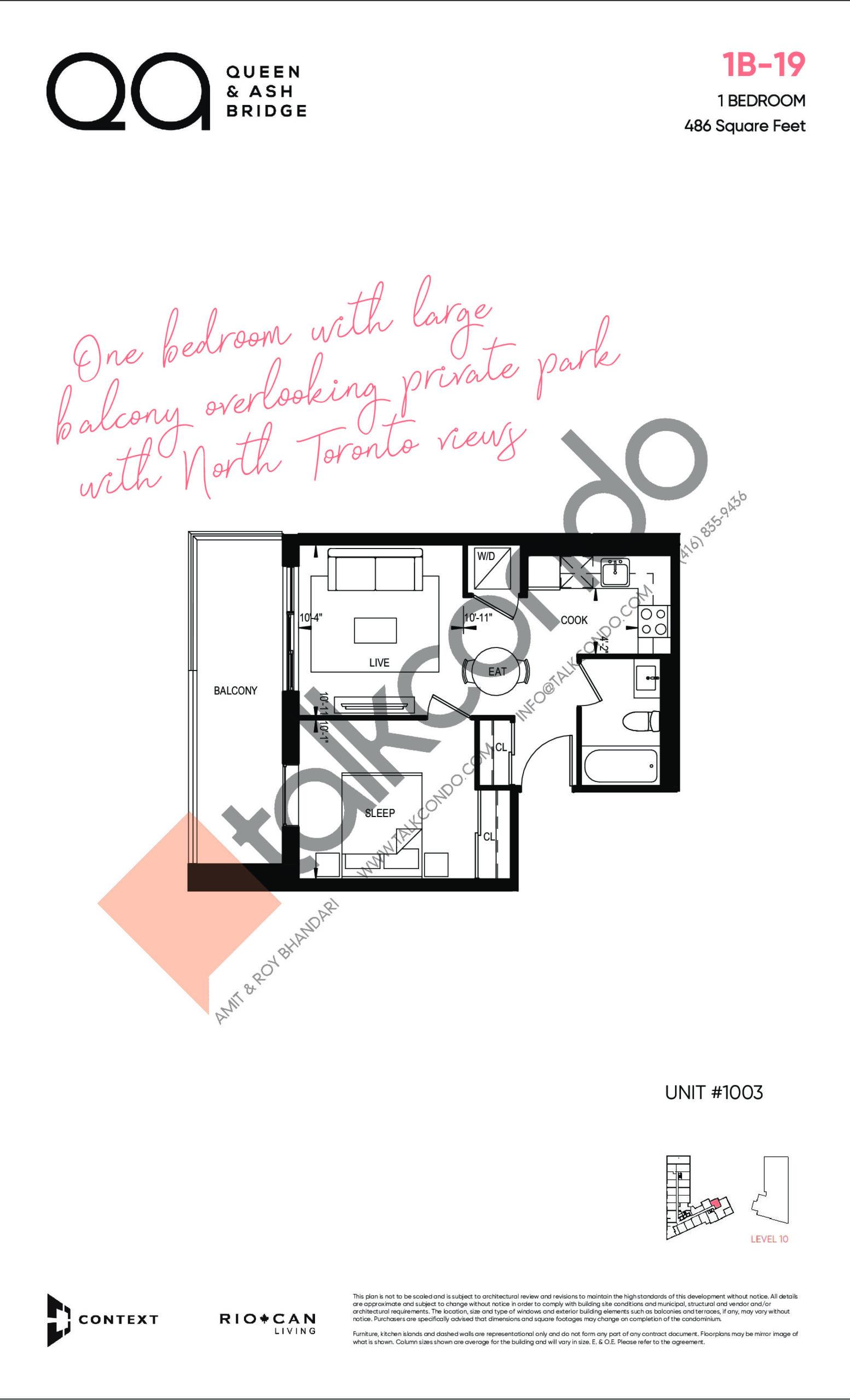 1B-19 Floor Plan at QA Condos - 486 sq.ft