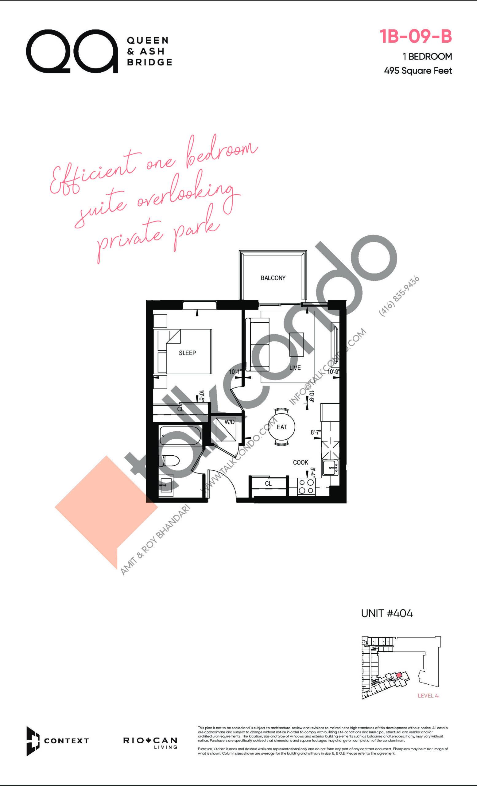 1B-09-B Floor Plan at QA Condos - 495 sq.ft