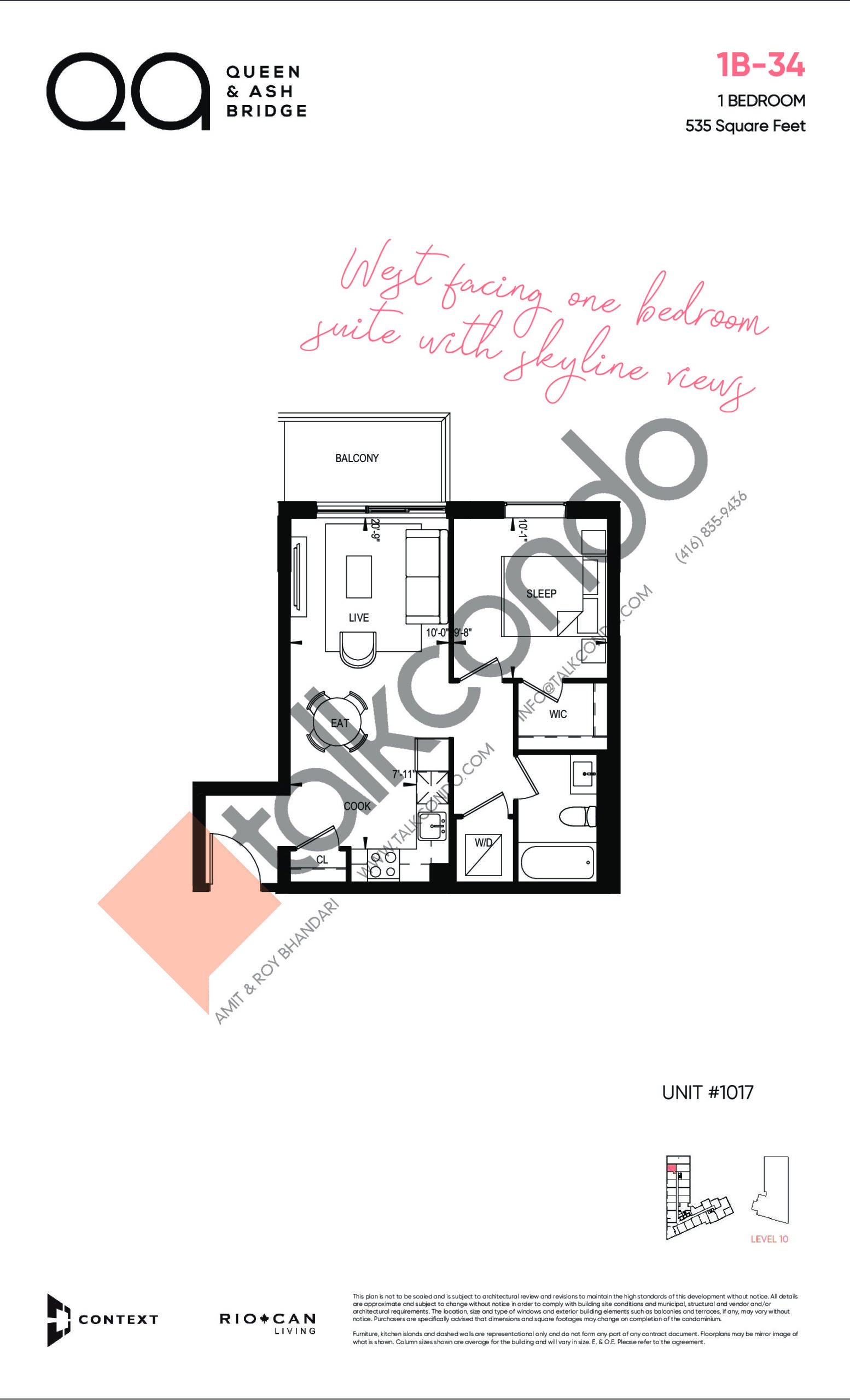 1B-34 (Queen Collection) Floor Plan at QA Condos - 535 sq.ft
