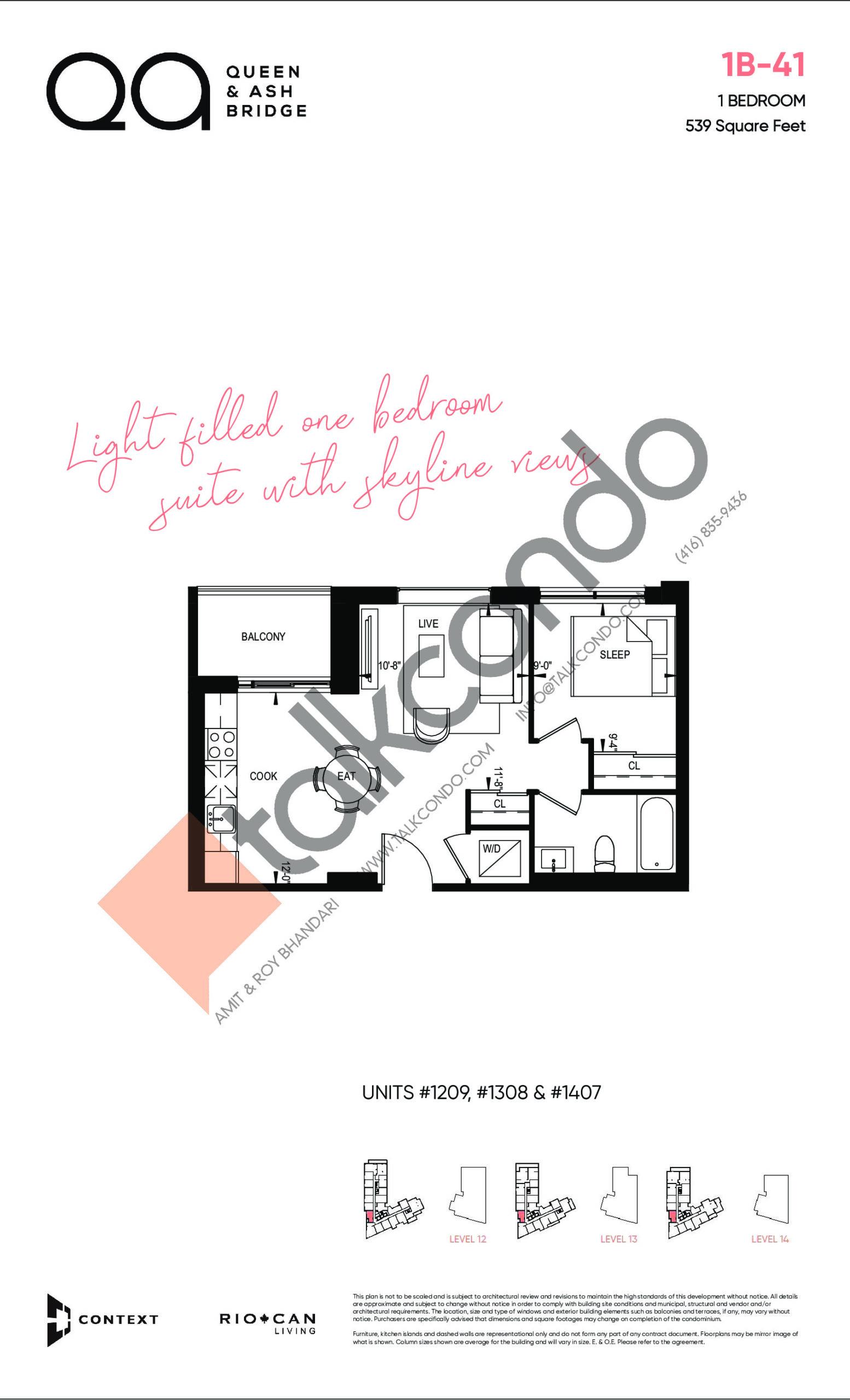 1B-41 Floor Plan at QA Condos - 539 sq.ft