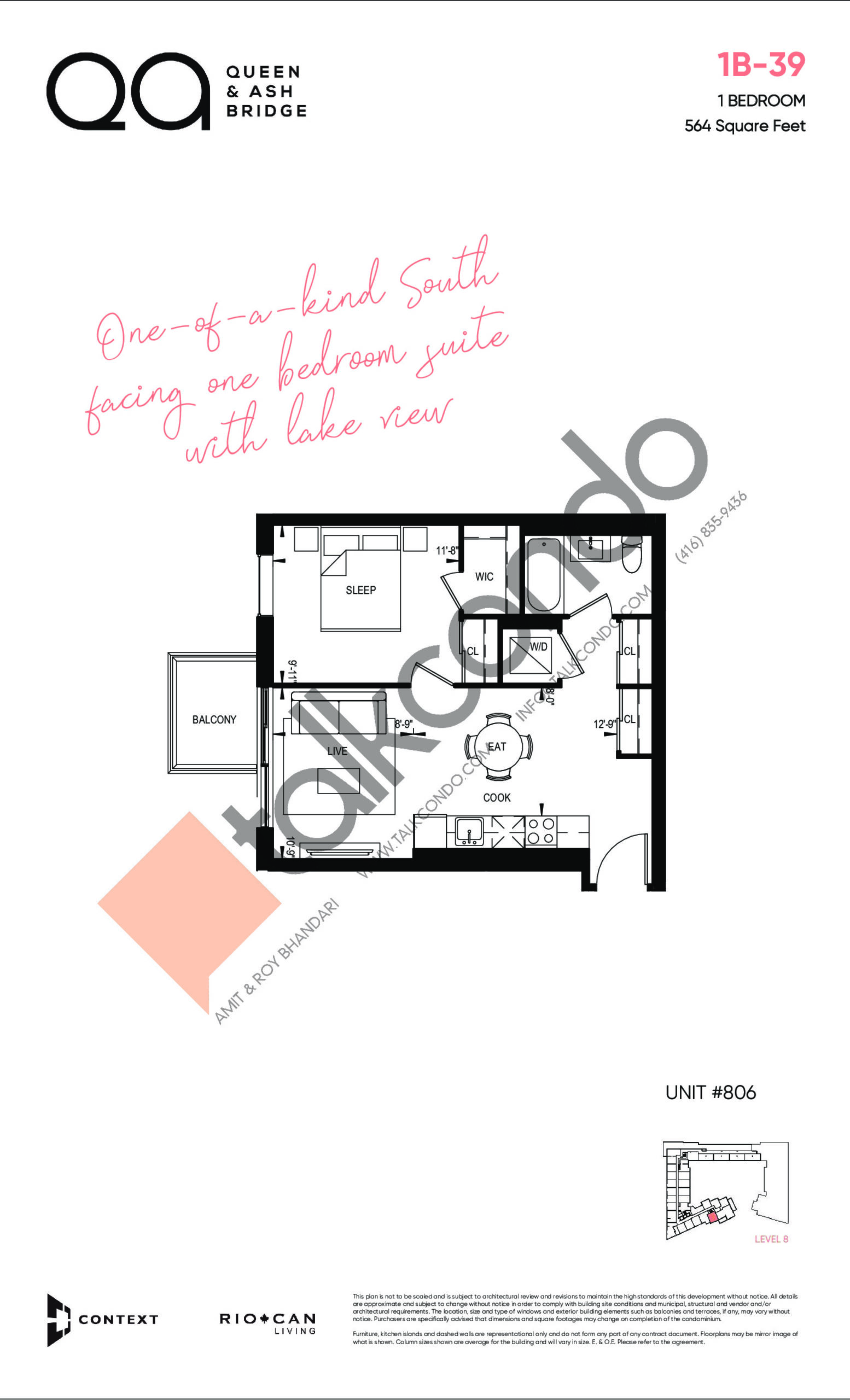 1B-39 Floor Plan at QA Condos - 564 sq.ft