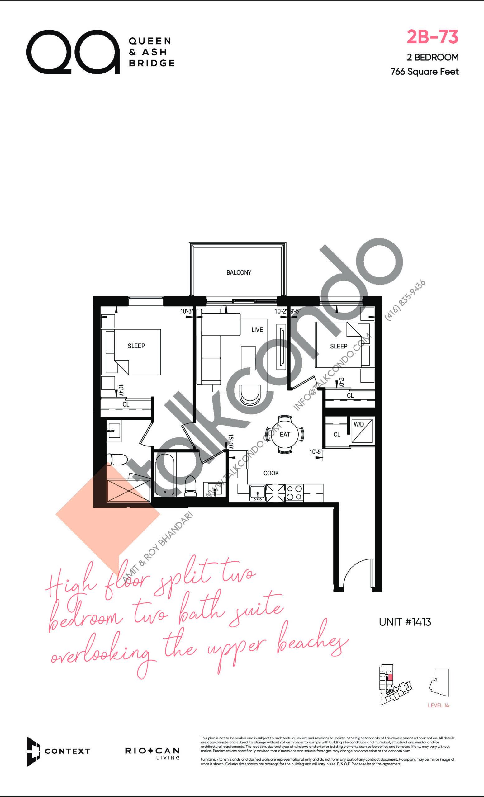 2B-73 Floor Plan at QA Condos - 766 sq.ft