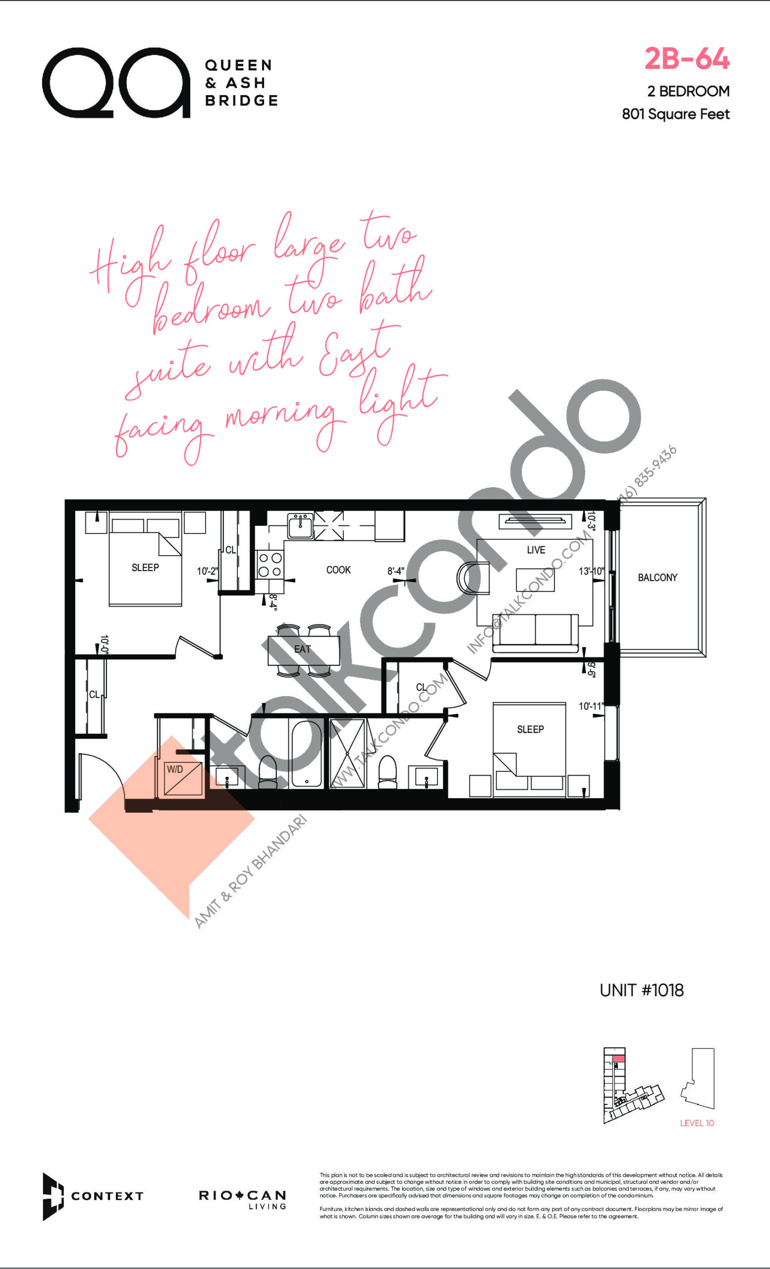 2B-64 (Queen Collection) Floor Plan at QA Condos - 801 sq.ft
