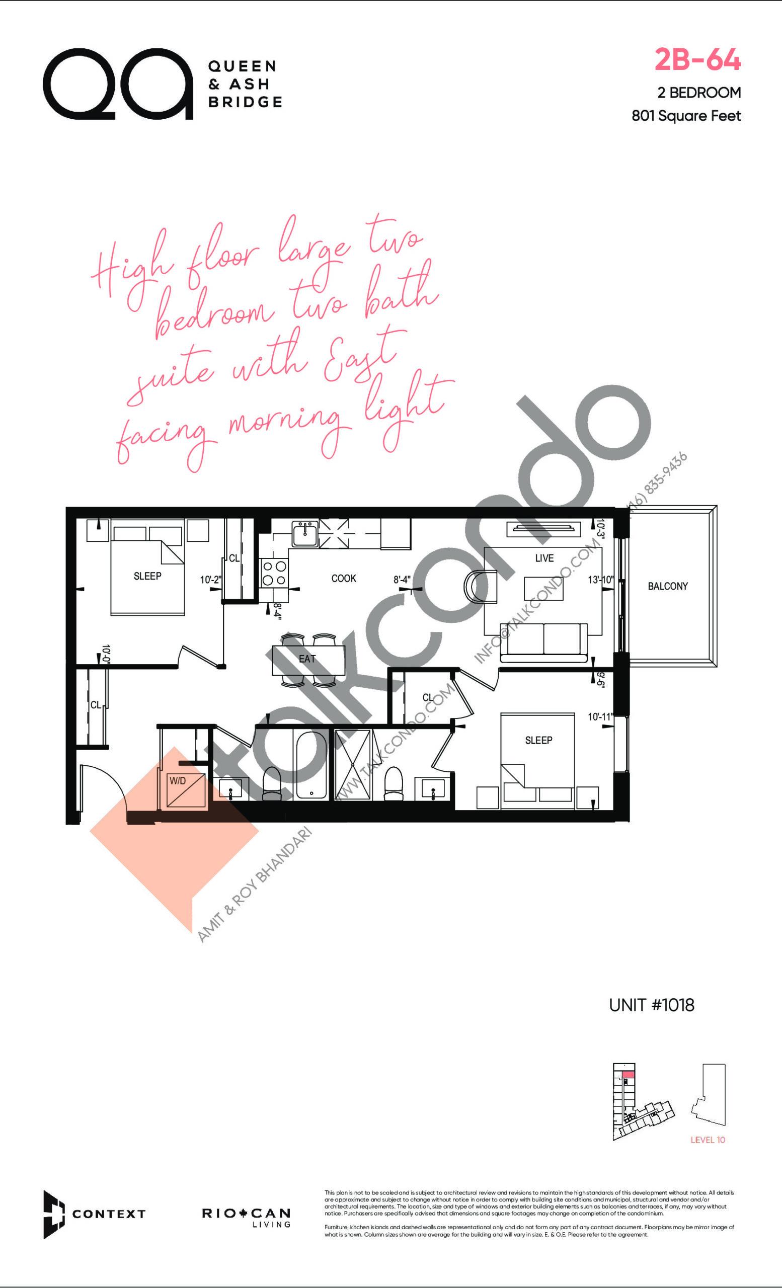 2B-64 Floor Plan at QA Condos - 801 sq.ft