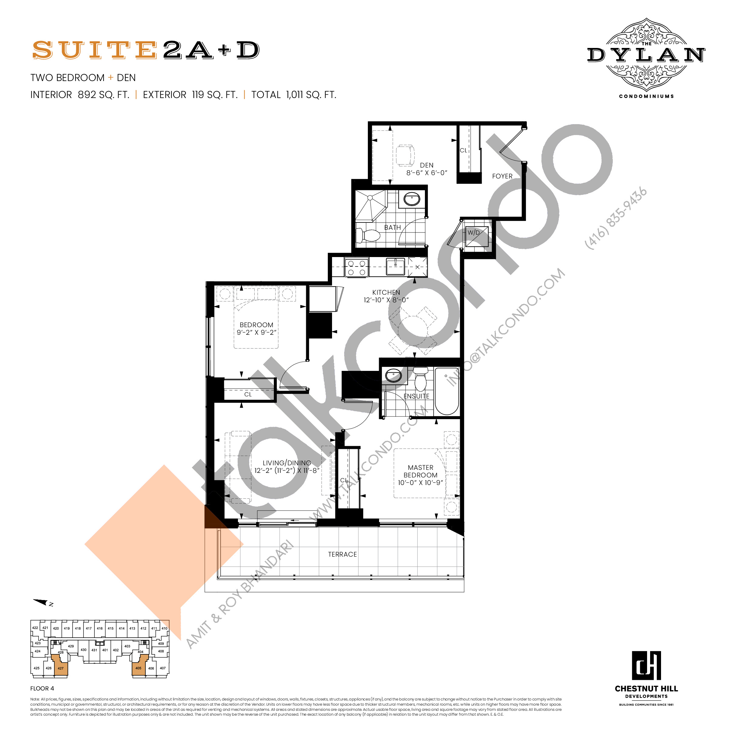 Suite 2A+D Floor Plan at The Dylan Condos - 892 sq.ft