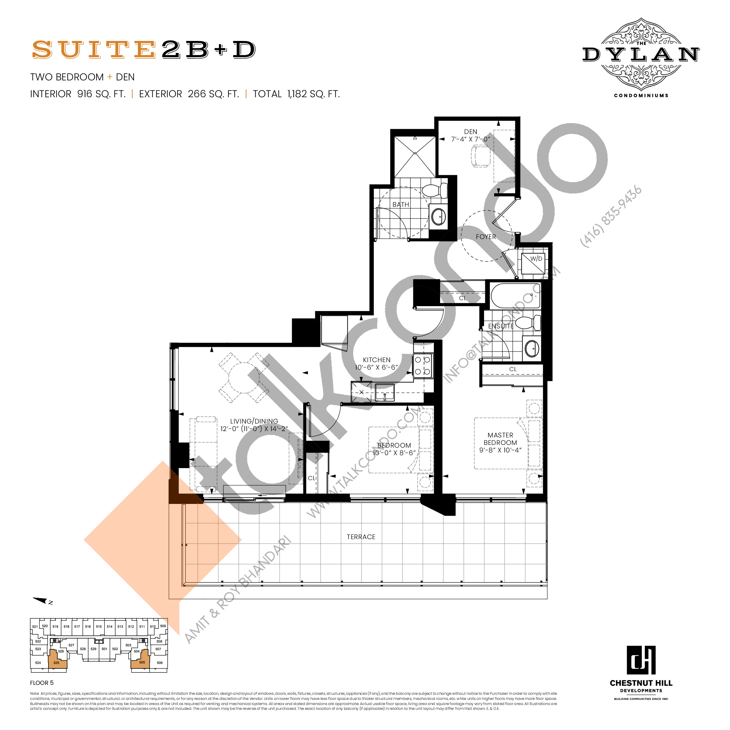 Suite 2B+D Floor Plan at The Dylan Condos - 916 sq.ft
