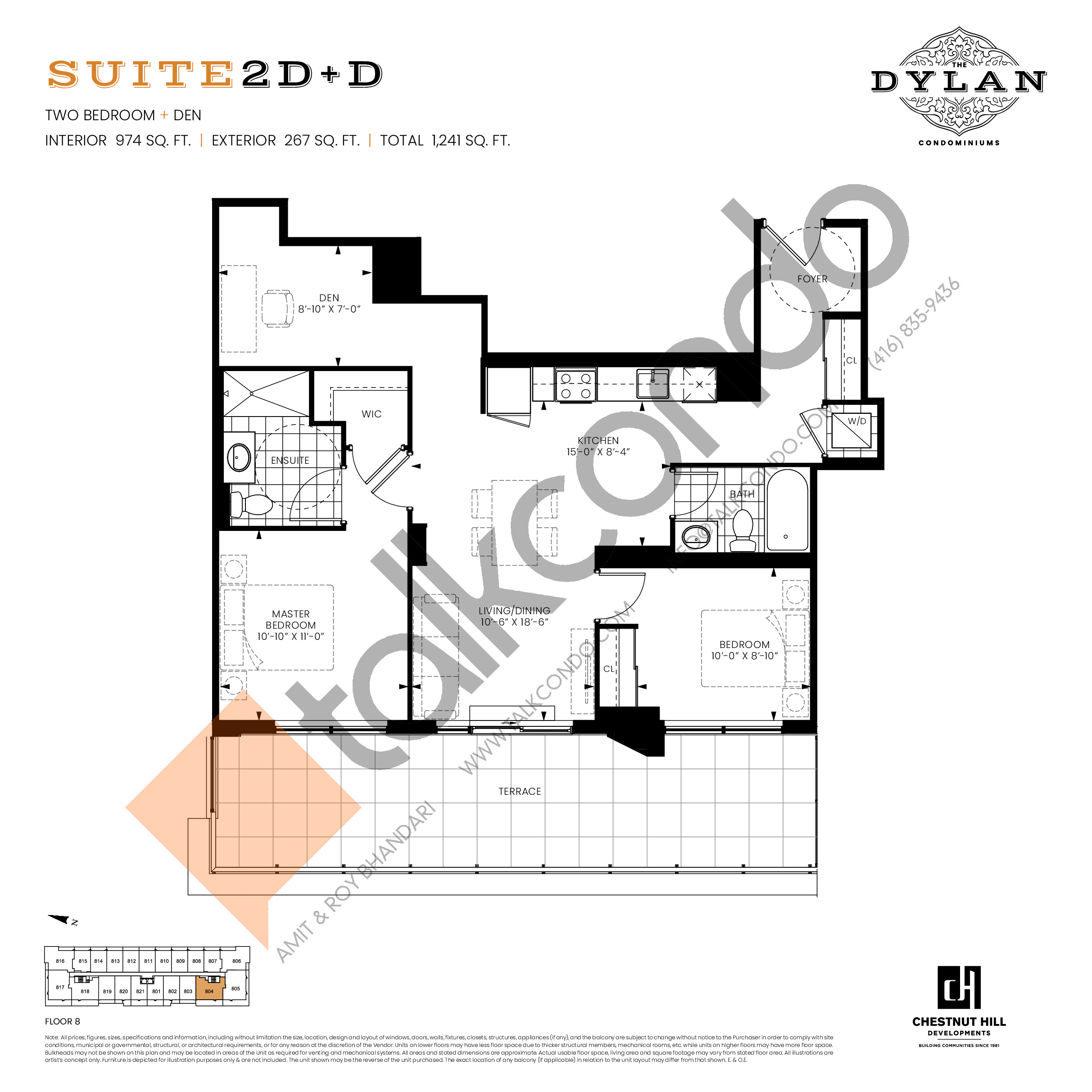 Suite 2D+D Floor Plan at The Dylan Condos - 974 sq.ft