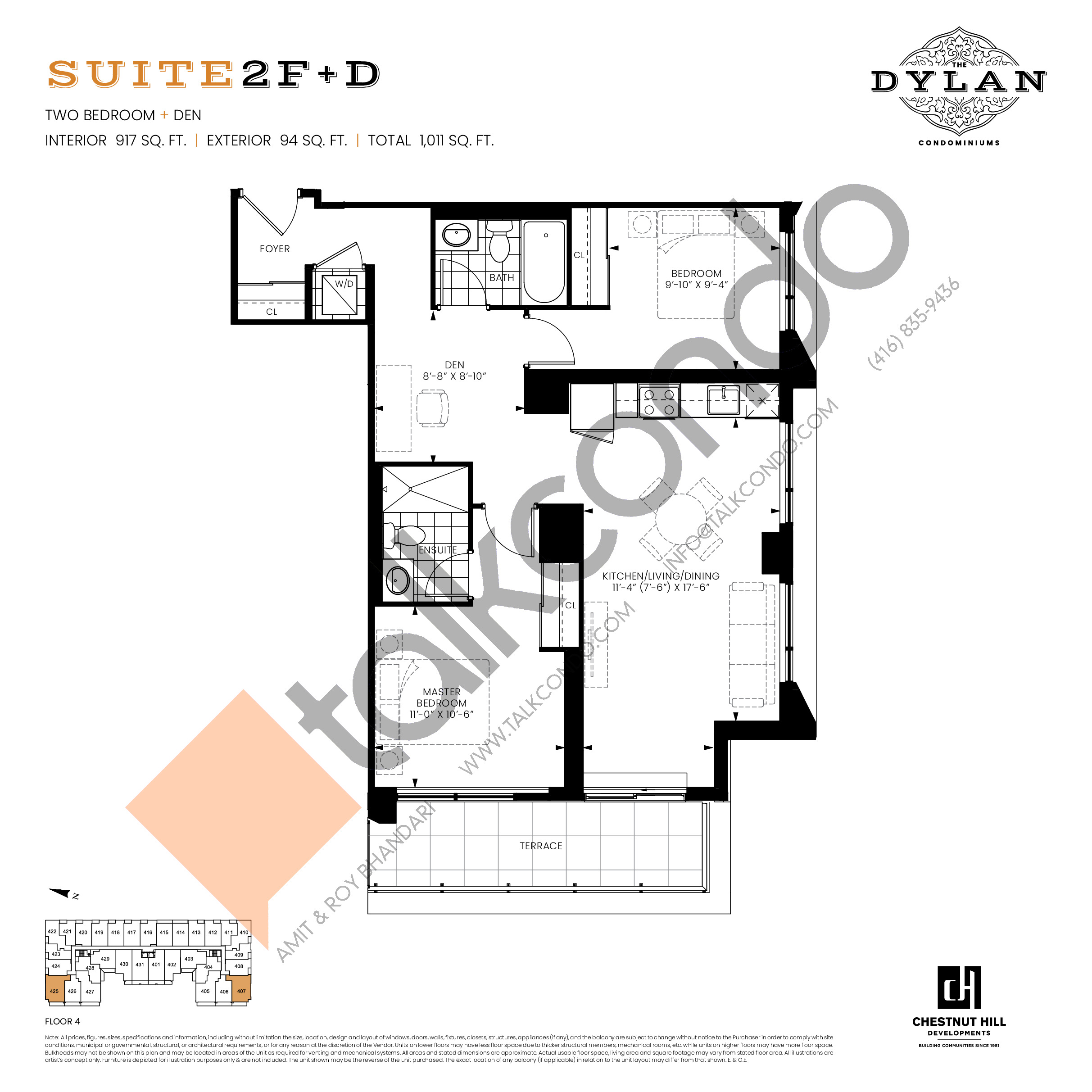 Suite 2F+D Floor Plan at The Dylan Condos - 917 sq.ft