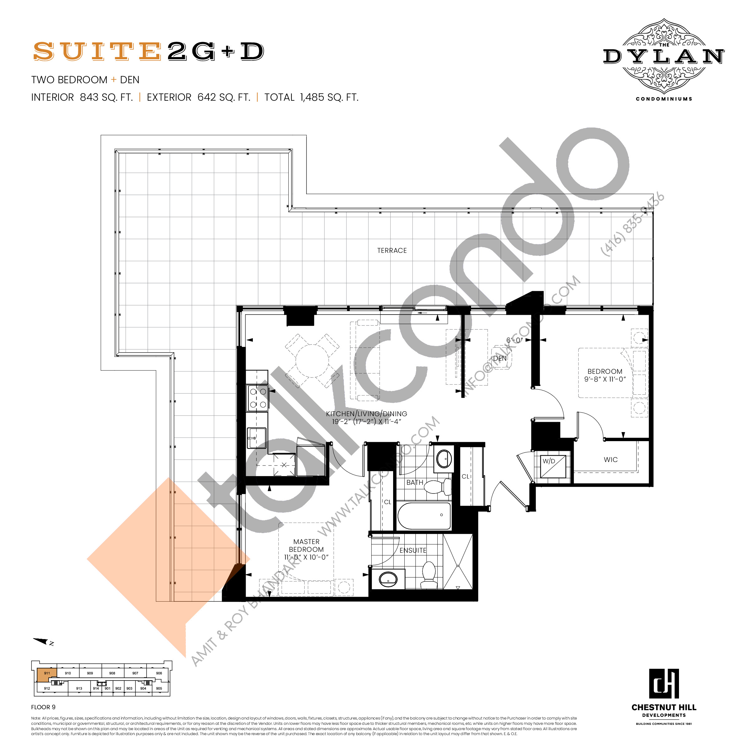 Suite 2G+D Floor Plan at The Dylan Condos - 843 sq.ft