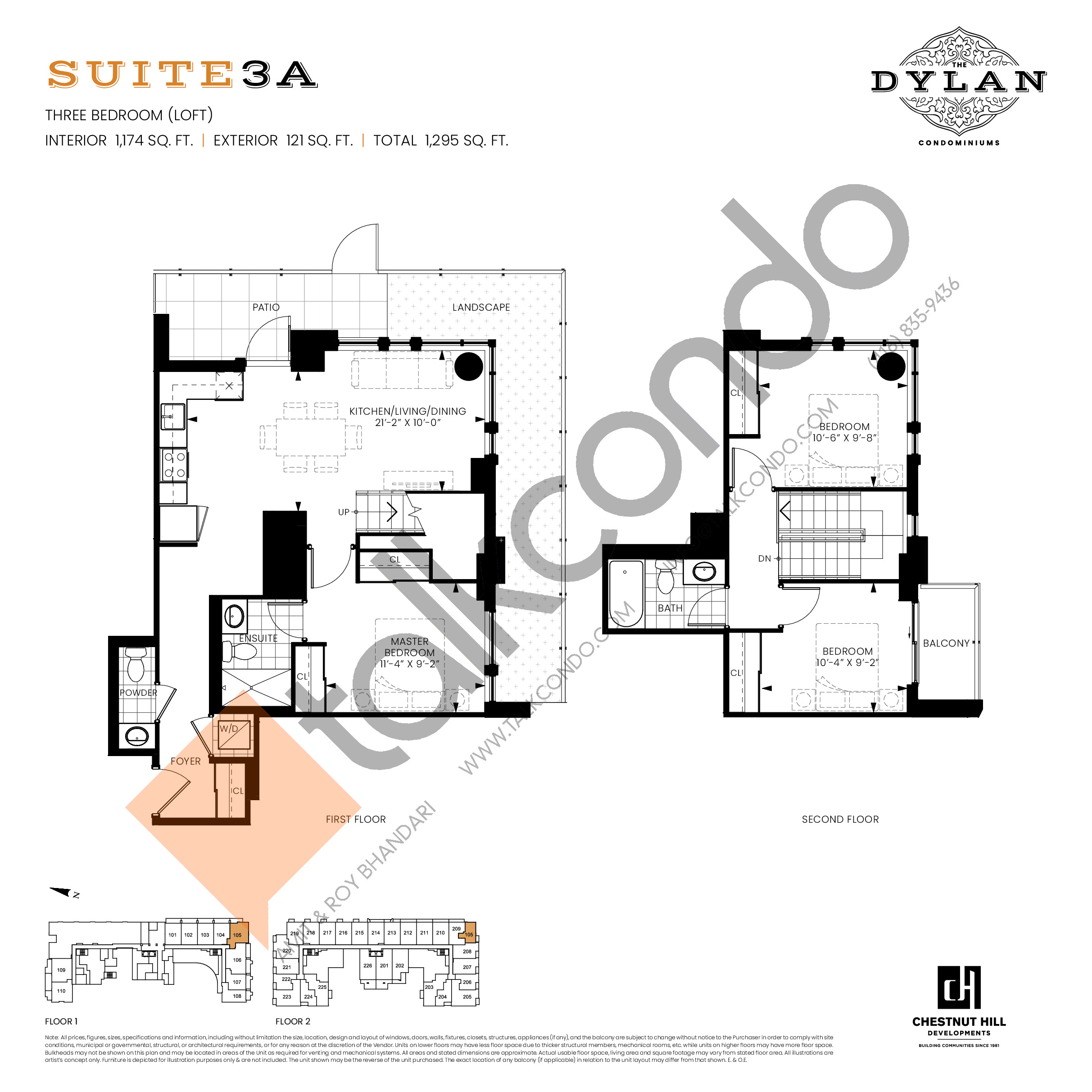 Suite 3A Floor Plan at The Dylan Condos - 1174 sq.ft