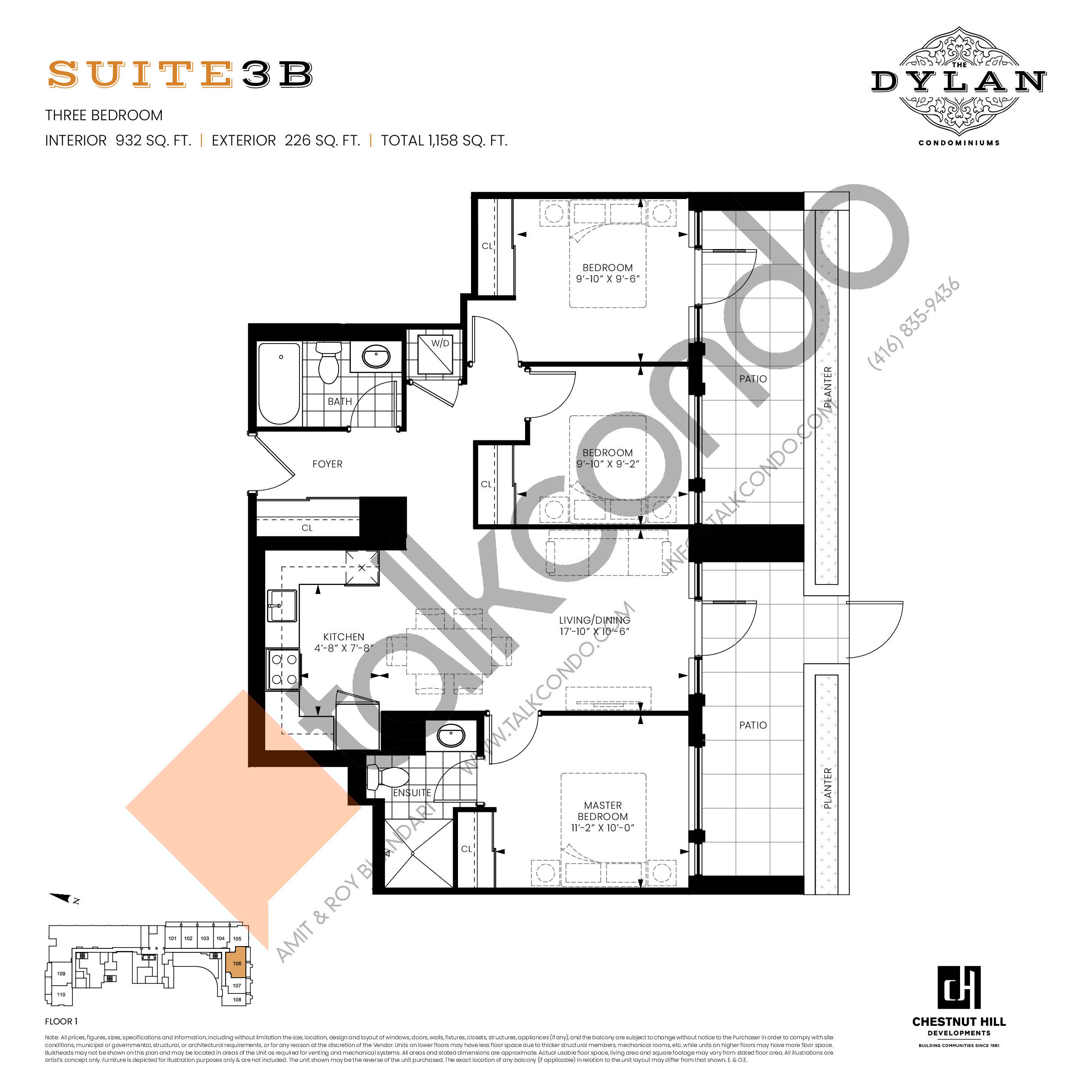 Suite 3B Floor Plan at The Dylan Condos - 932 sq.ft