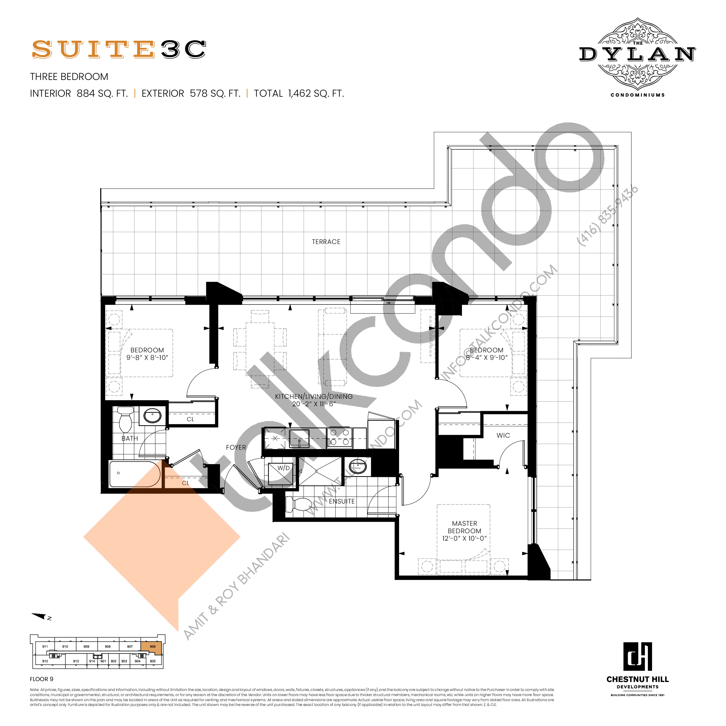 Suite 3C Floor Plan at The Dylan Condos - 884 sq.ft