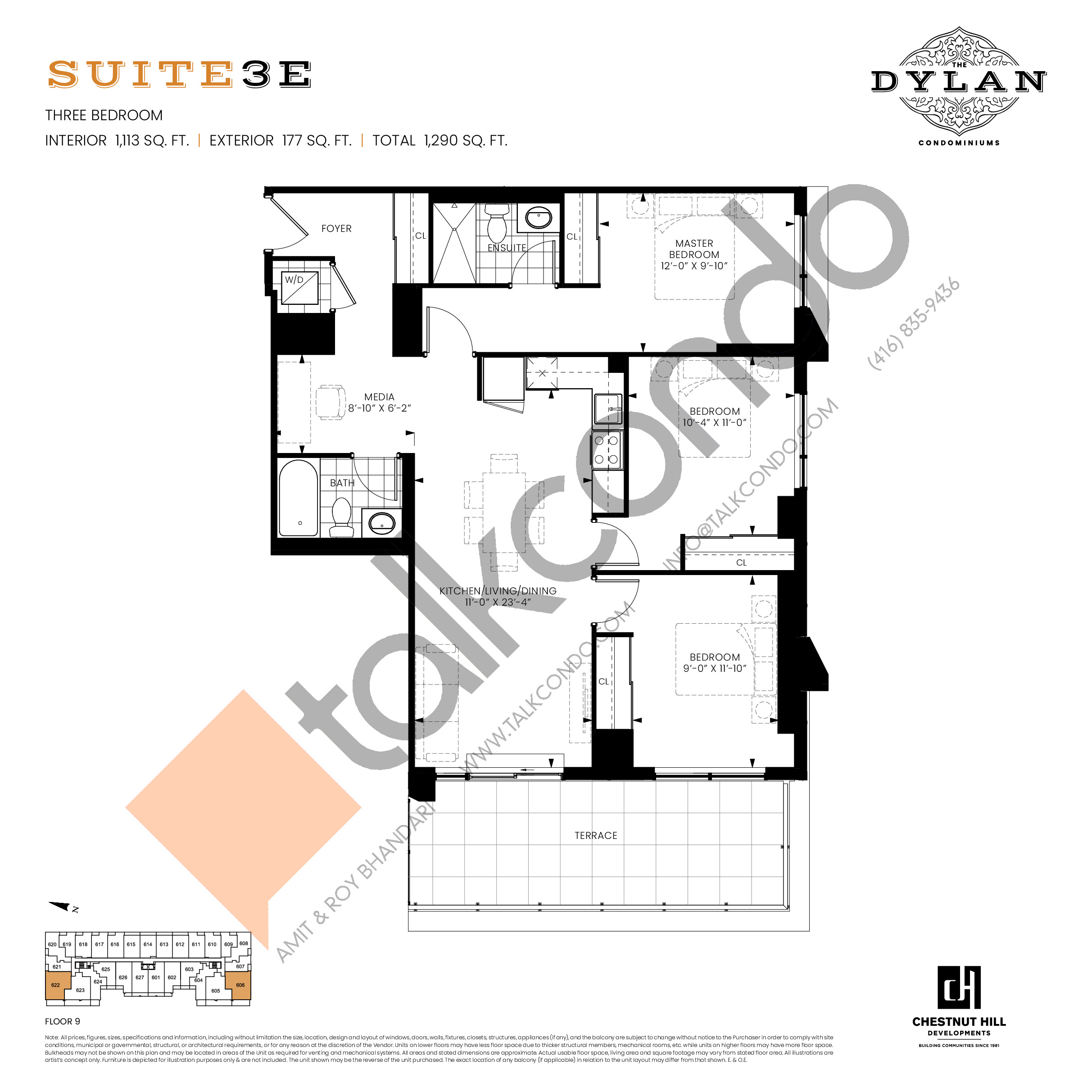 Suite 3E Floor Plan at The Dylan Condos - 1113 sq.ft