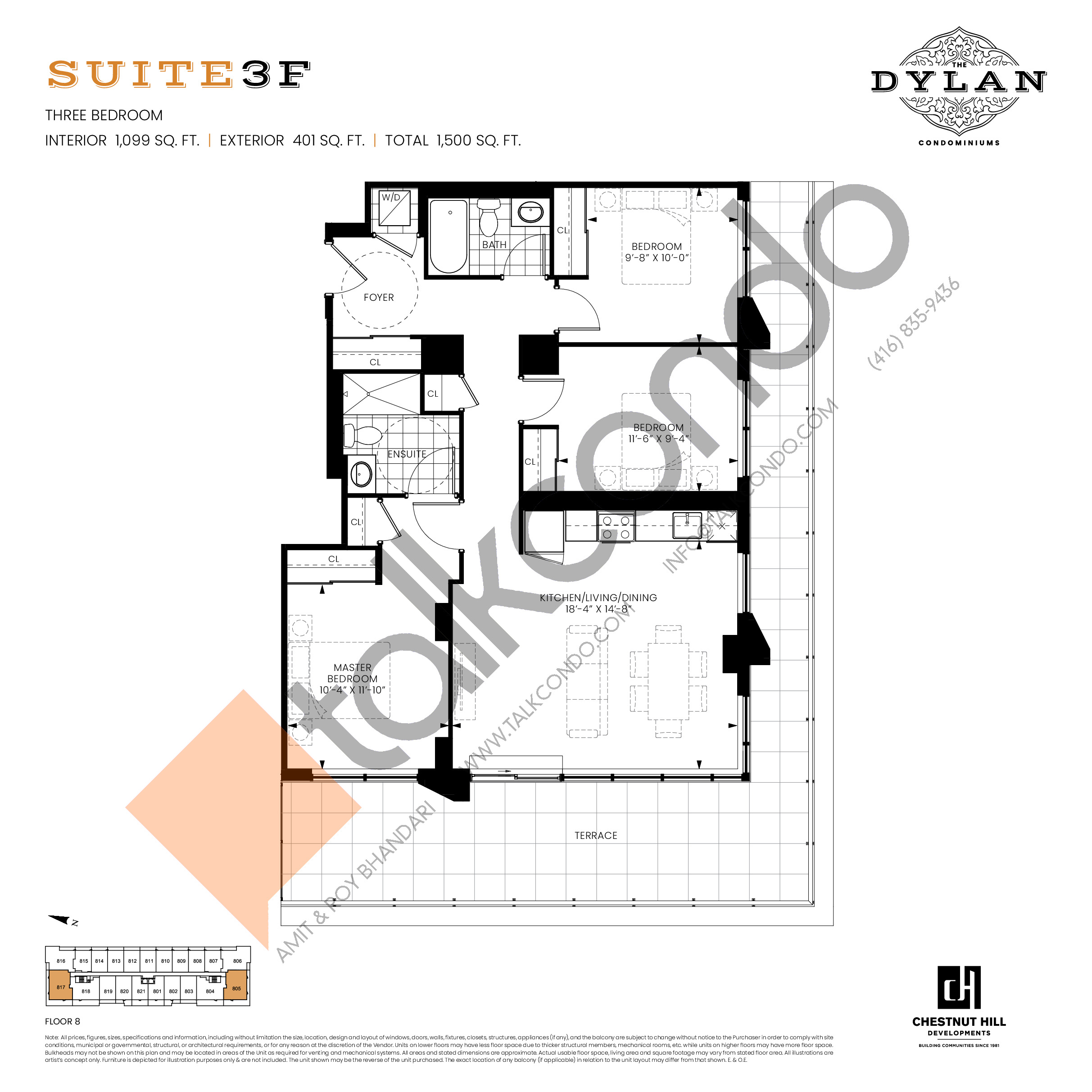 Suite 3F Floor Plan at The Dylan Condos - 1099 sq.ft