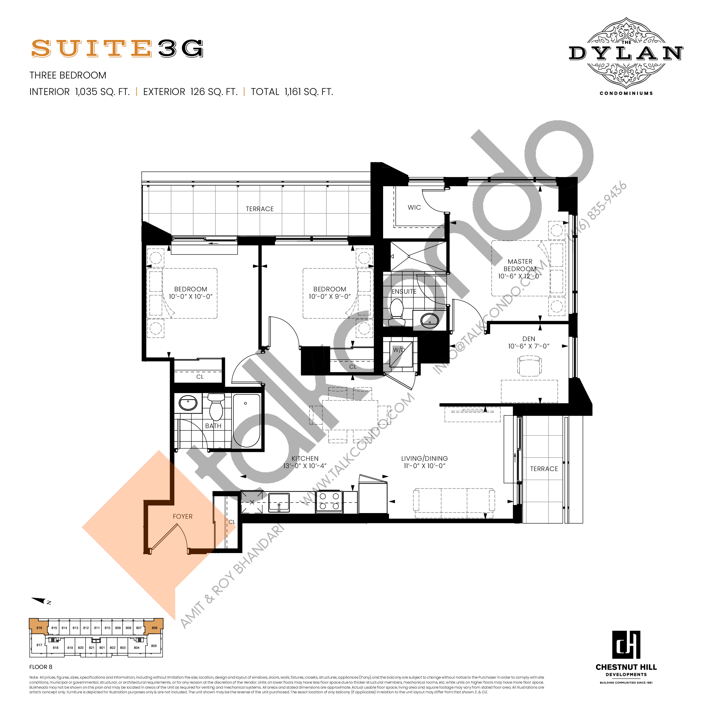 Suite 3G Floor Plan at The Dylan Condos - 1035 sq.ft