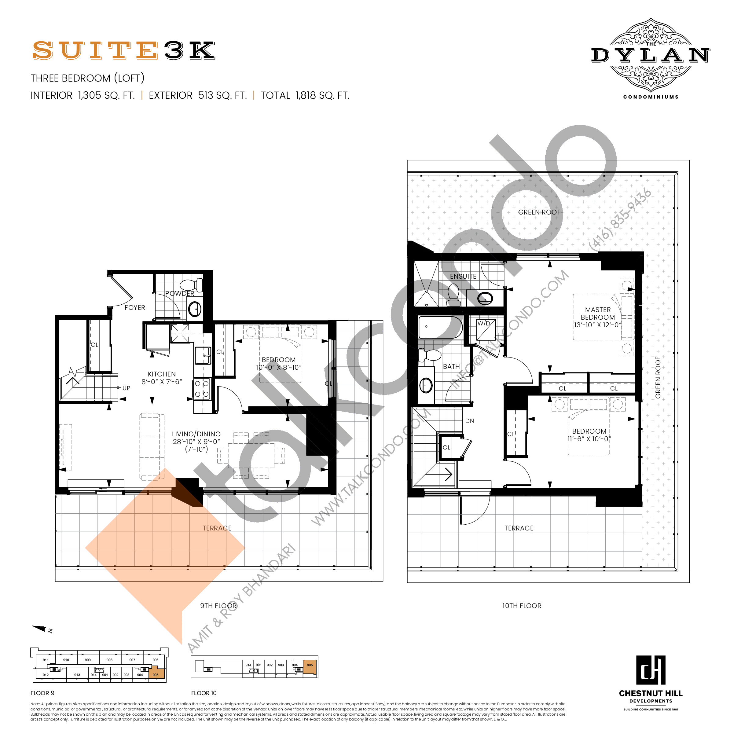 Suite 3K Floor Plan at The Dylan Condos - 1305 sq.ft