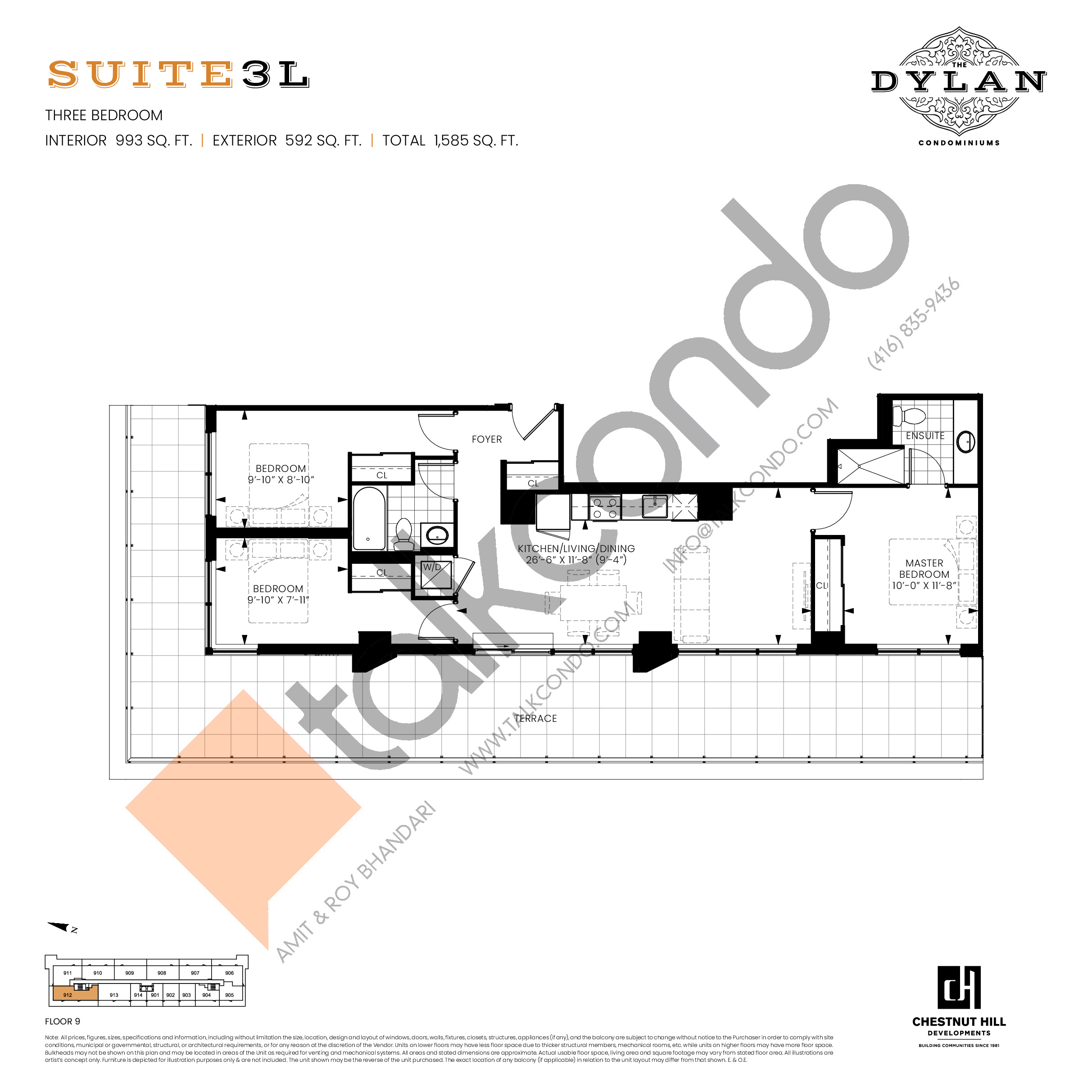 Suite 3L Floor Plan at The Dylan Condos - 993 sq.ft