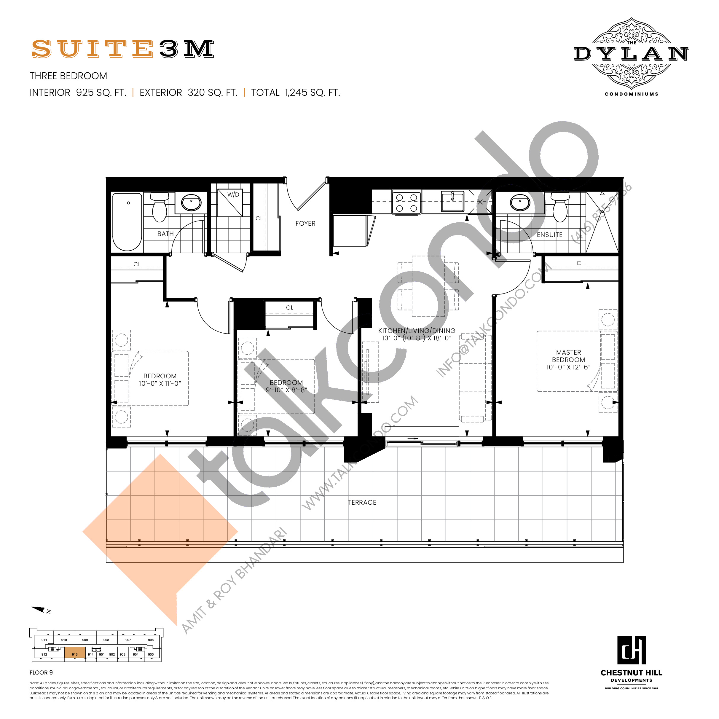 Suite 3M  Floor Plan at The Dylan Condos - 925 sq.ft