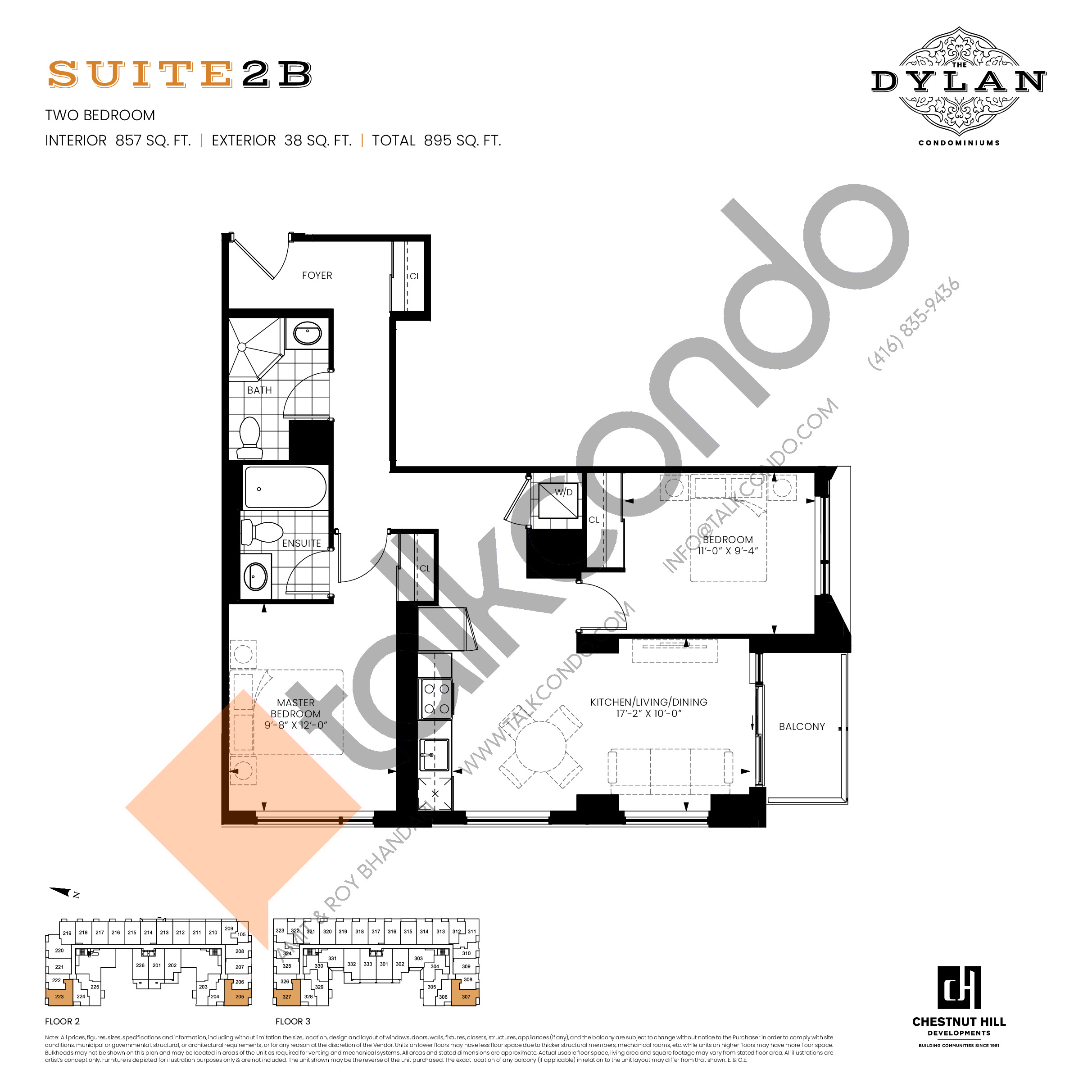 Suite 2B Floor Plan at The Dylan Condos - 857 sq.ft