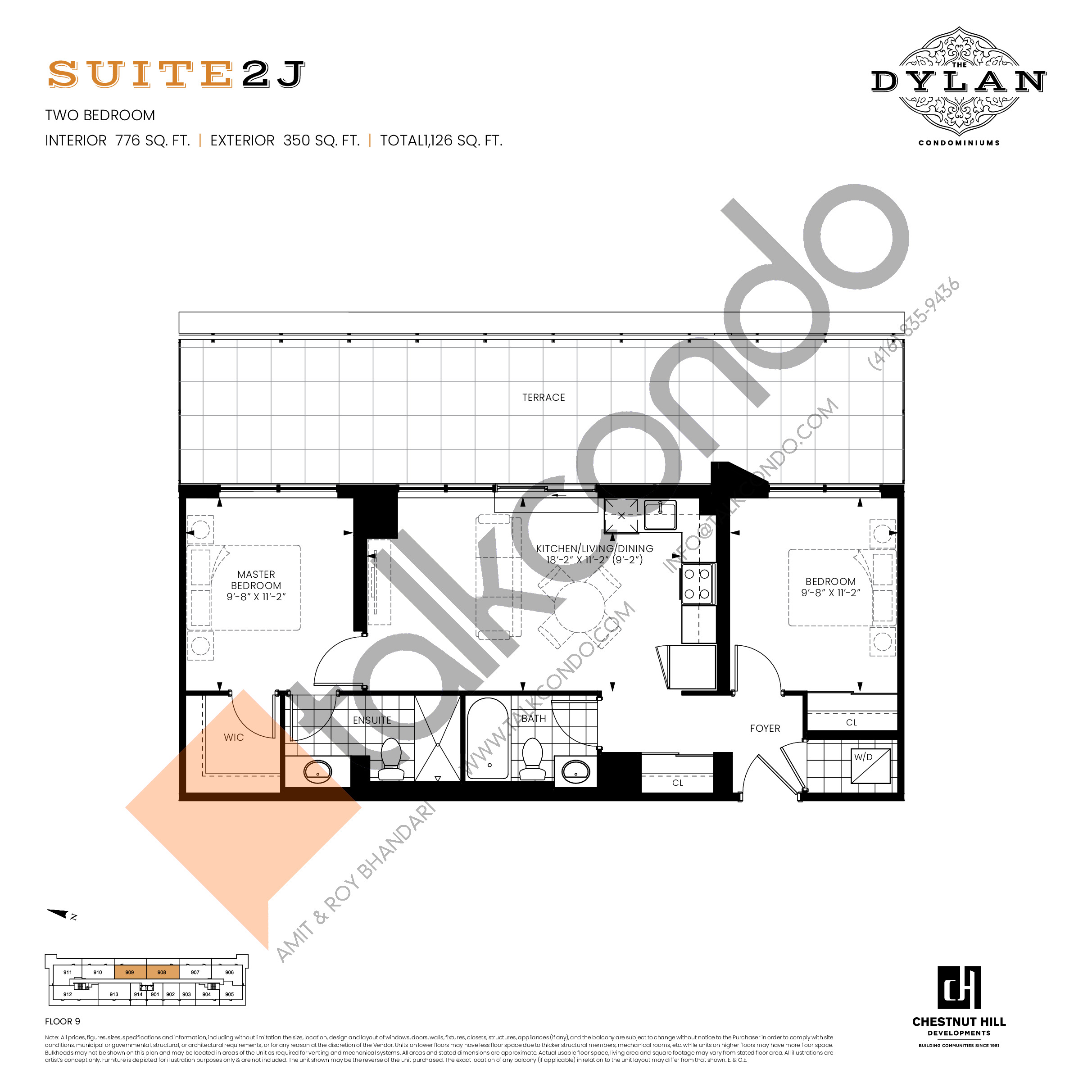 Suite 2J Floor Plan at The Dylan Condos - 776 sq.ft