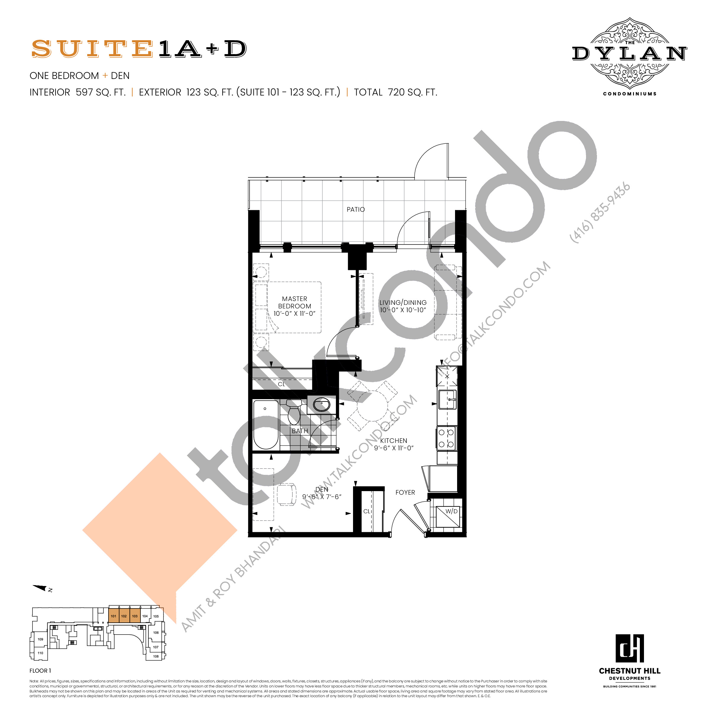 Suite 1A+D Floor Plan at The Dylan Condos - 597 sq.ft