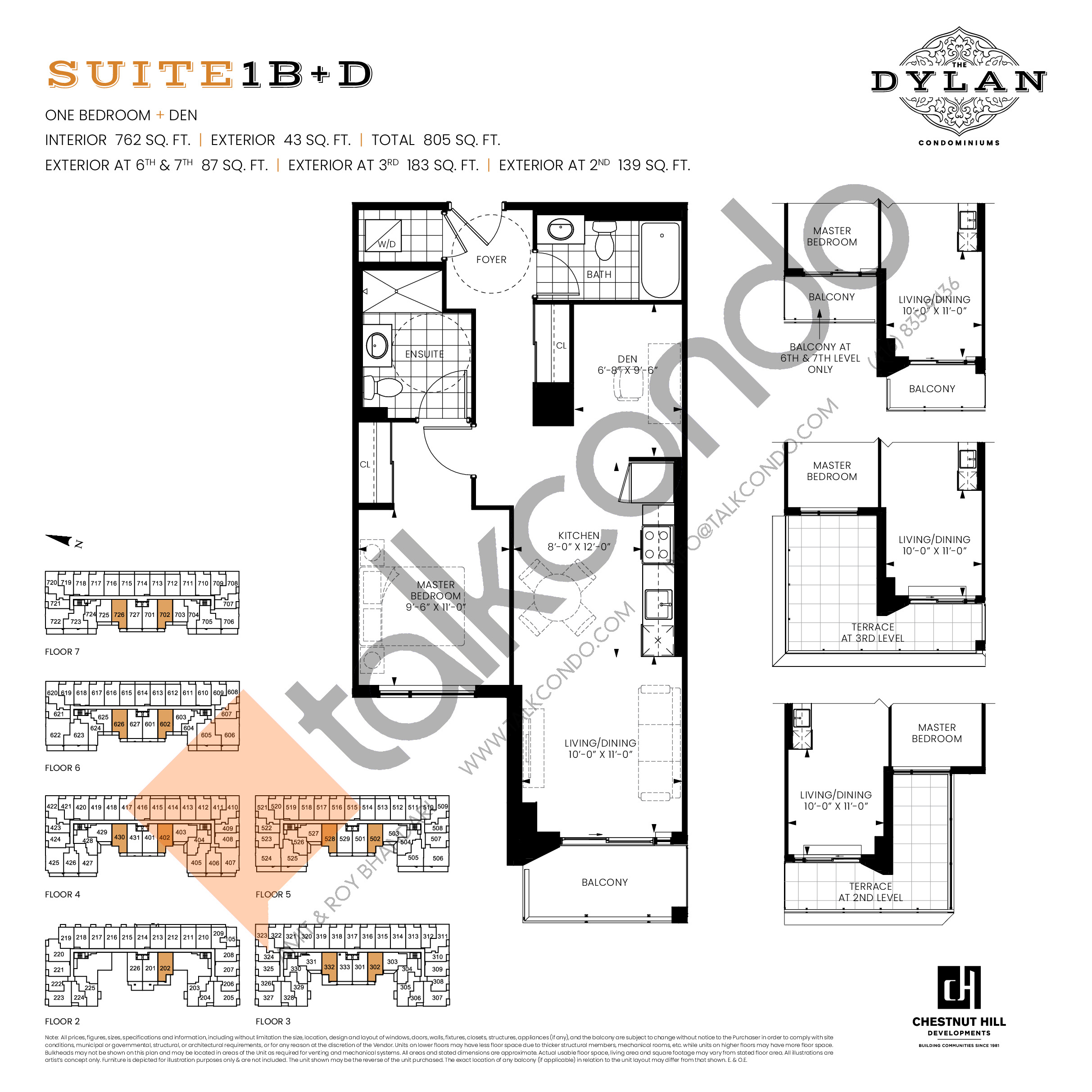 Suite 1B+D Floor Plan at The Dylan Condos - 762 sq.ft