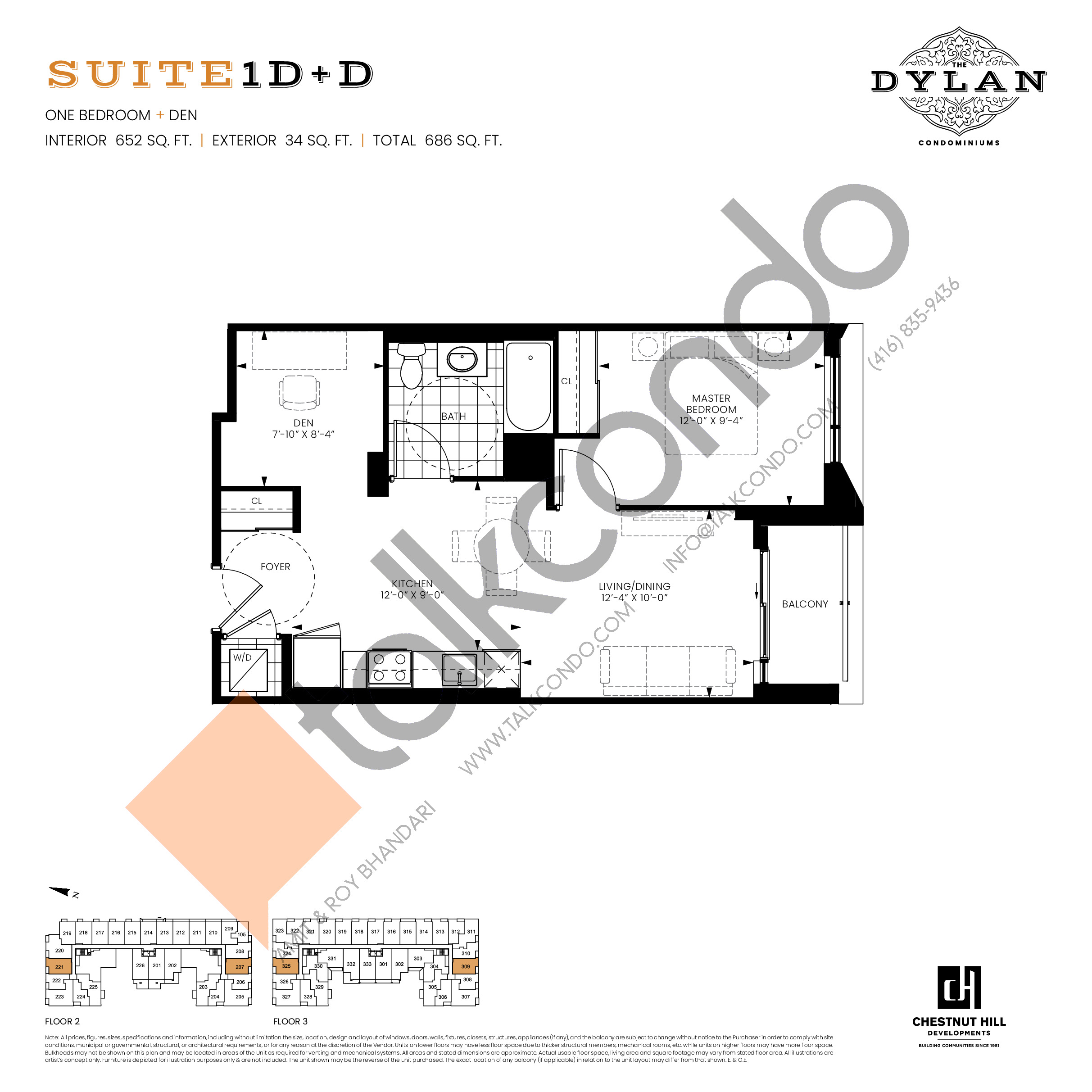 Suite 1D+D Floor Plan at The Dylan Condos - 652 sq.ft