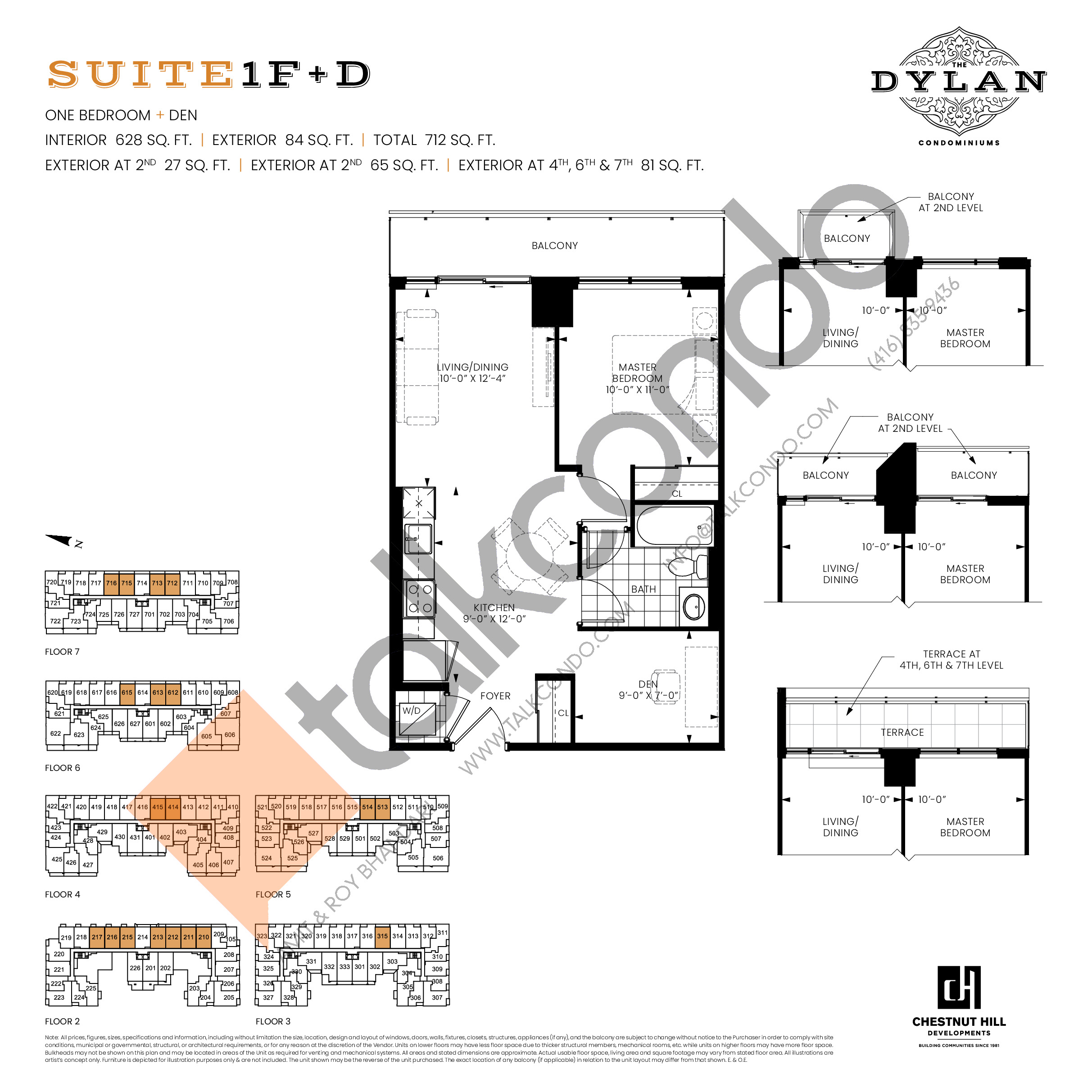 Suite 1F+D Floor Plan at The Dylan Condos - 628 sq.ft