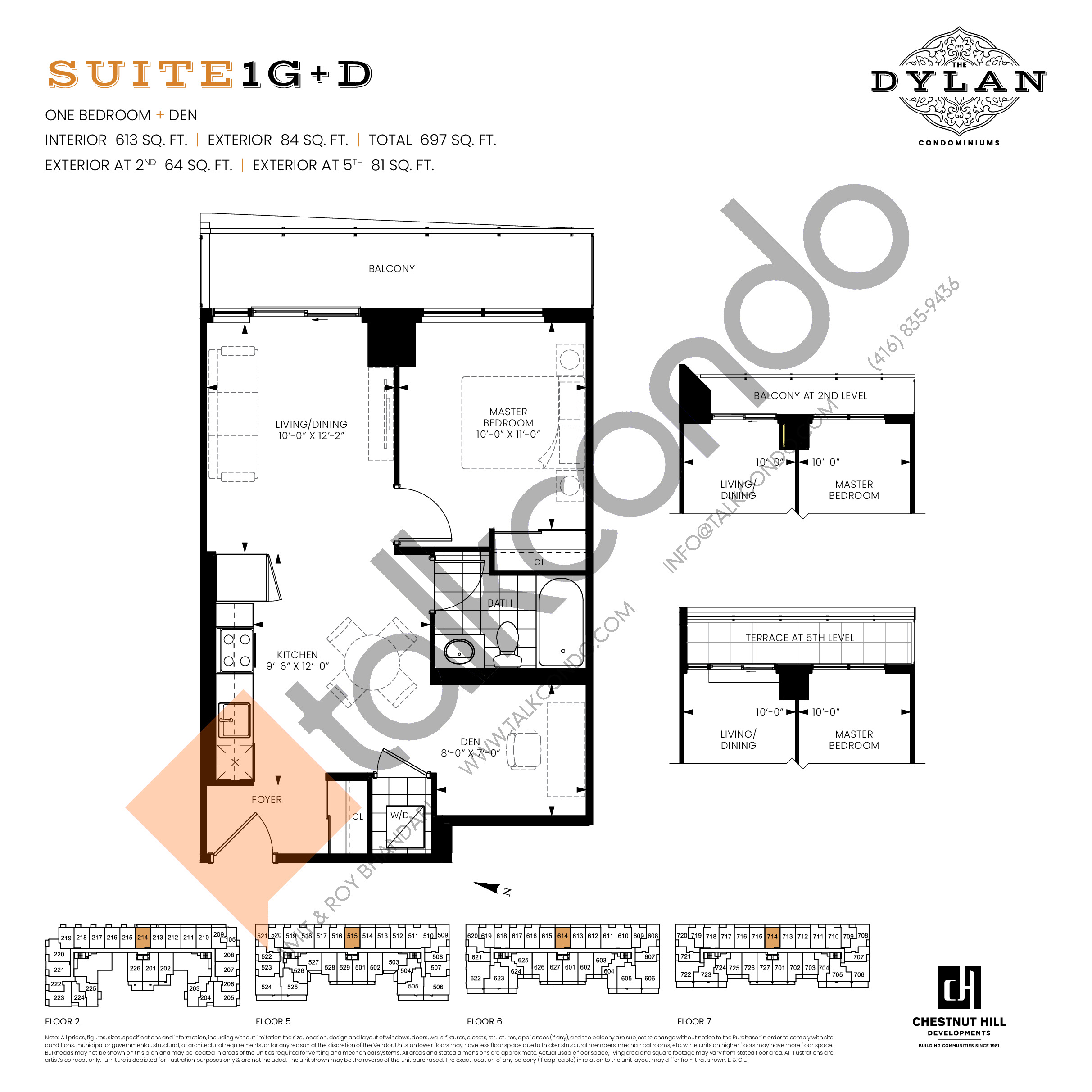 Suite 1G+D Floor Plan at The Dylan Condos - 613 sq.ft