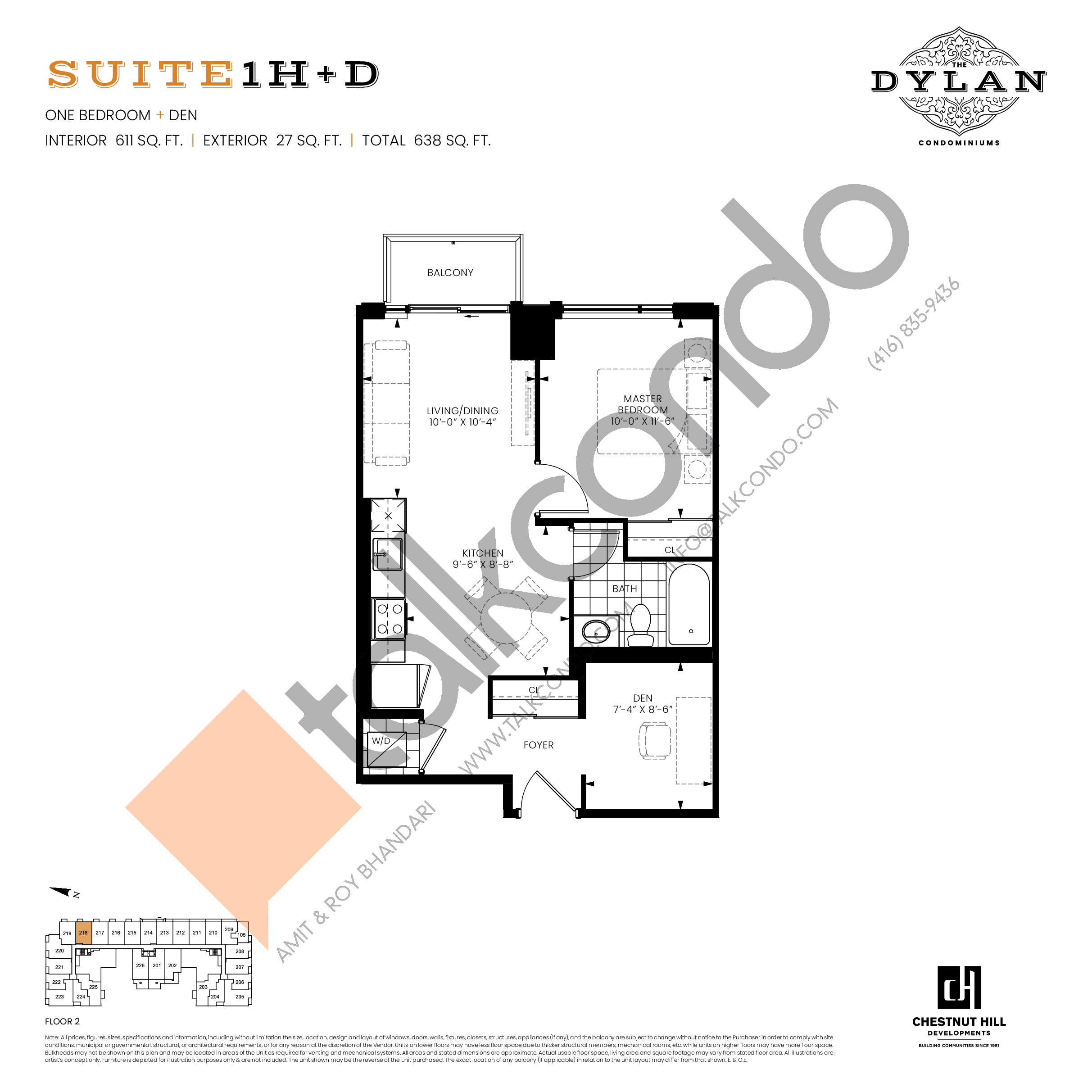 Suite 1H+D Floor Plan at The Dylan Condos - 611 sq.ft